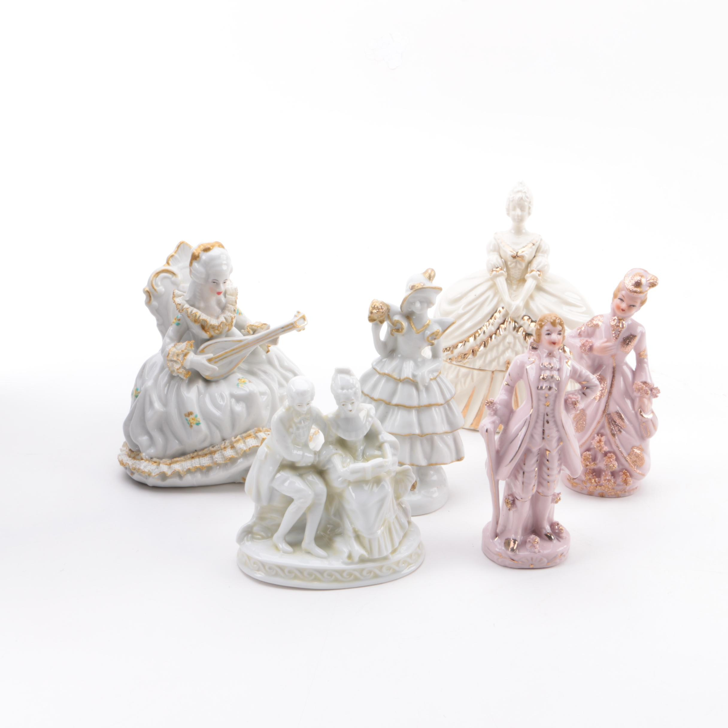 Victorian Style Ceramic Figurines and Trinket Box