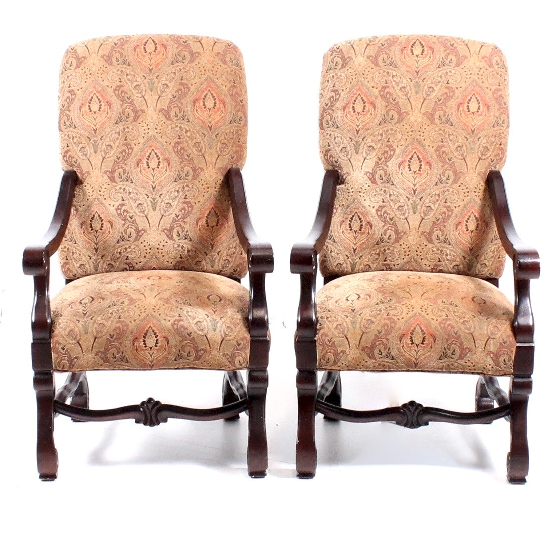 Pair of Rococo Revival Style Armchairs