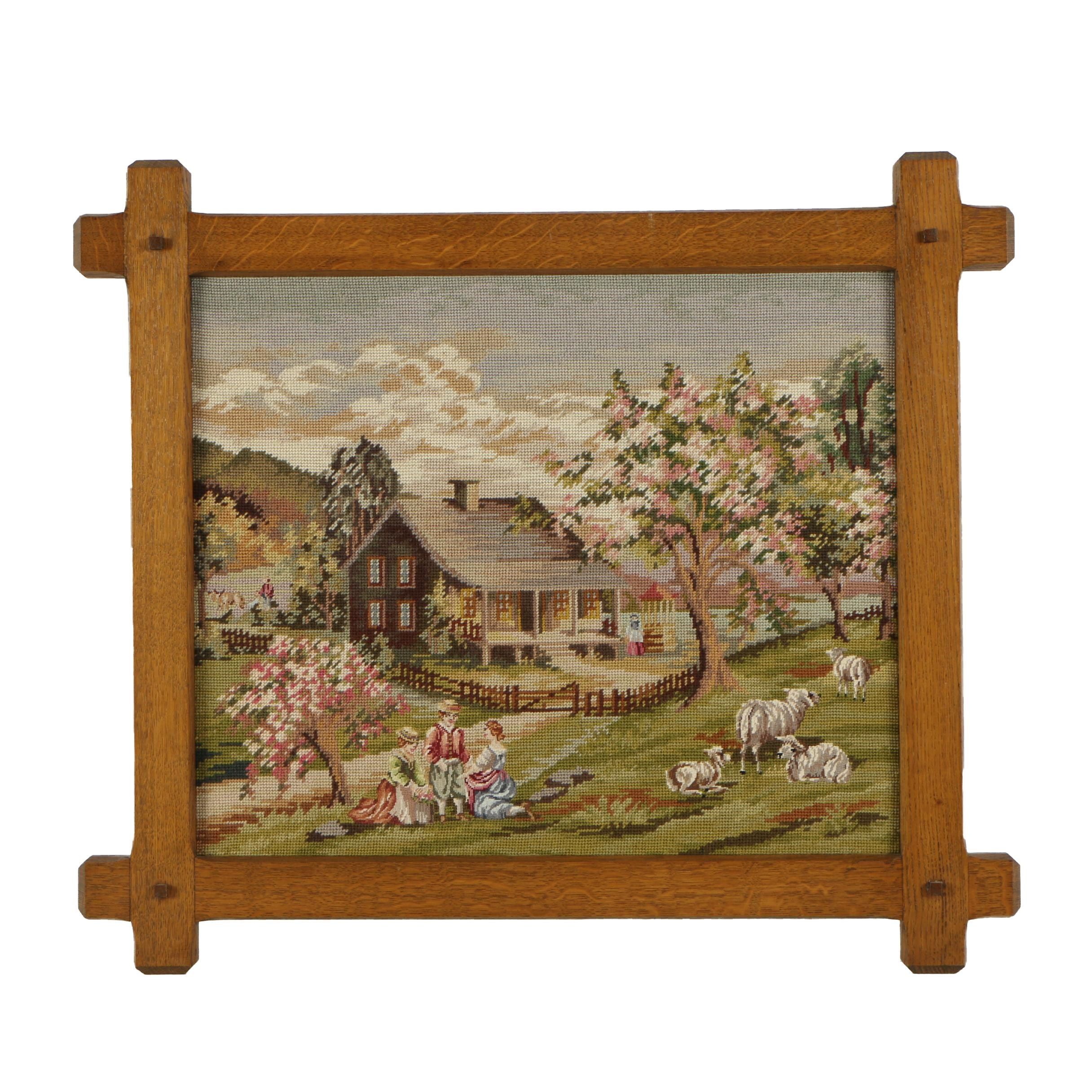 Needlepoint Embroidery of Farm Landscape