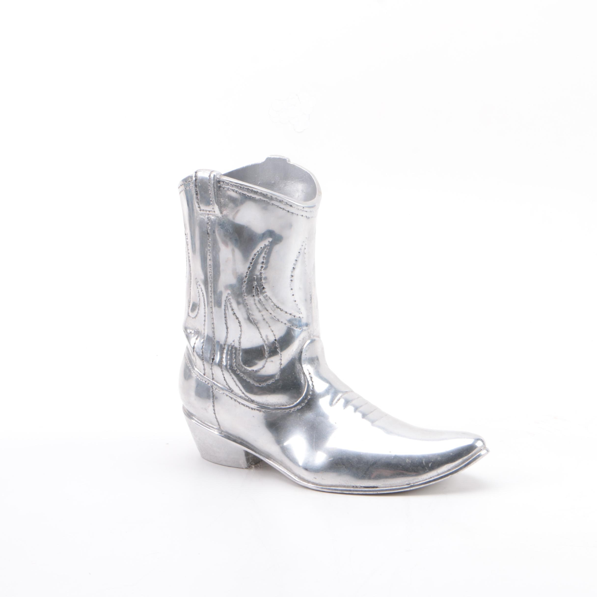 Cowboy Boot Shaped Silver Toned Metal Figurine by Mariposa