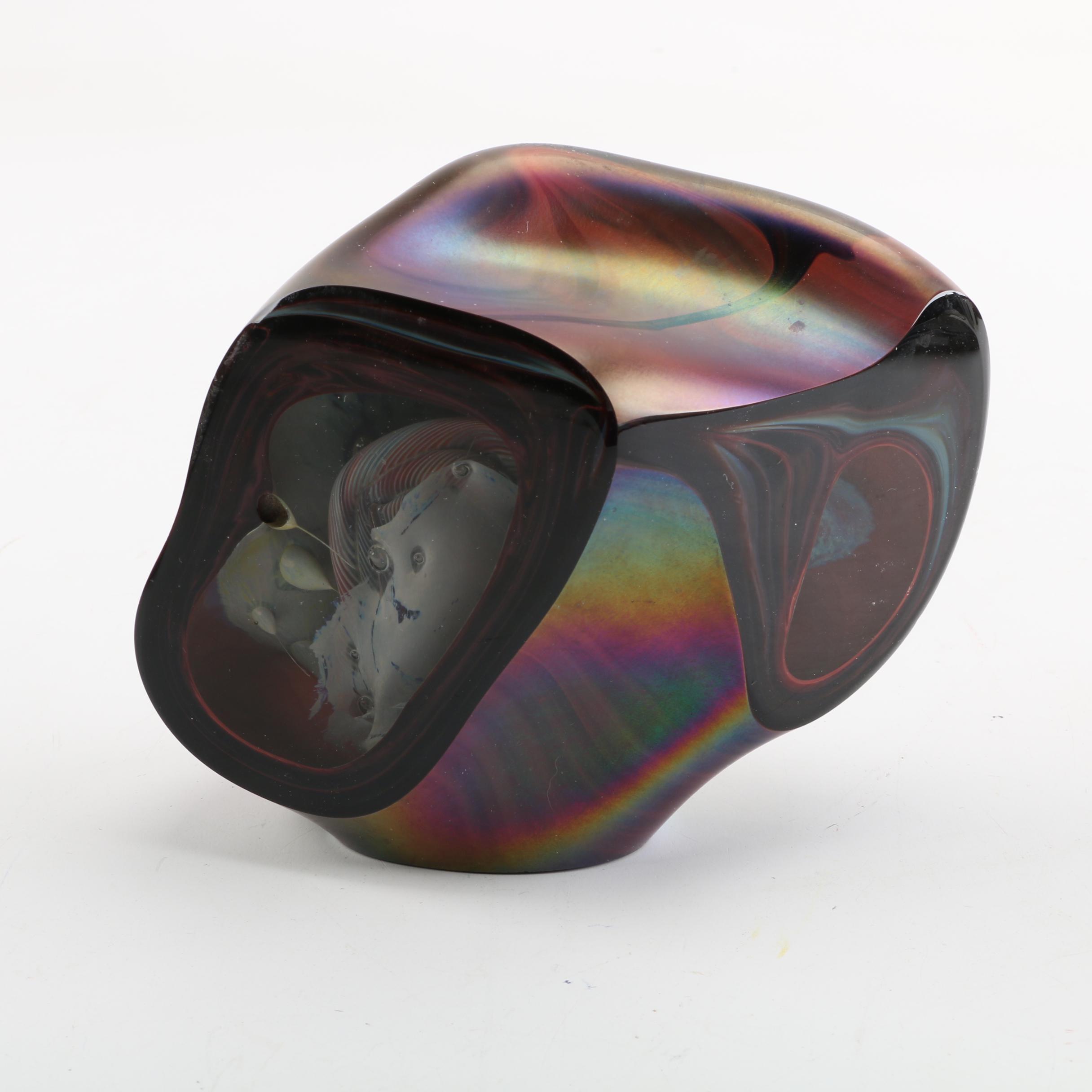 2003 Signed Iridescent Amorphous Art Glass Sculpture