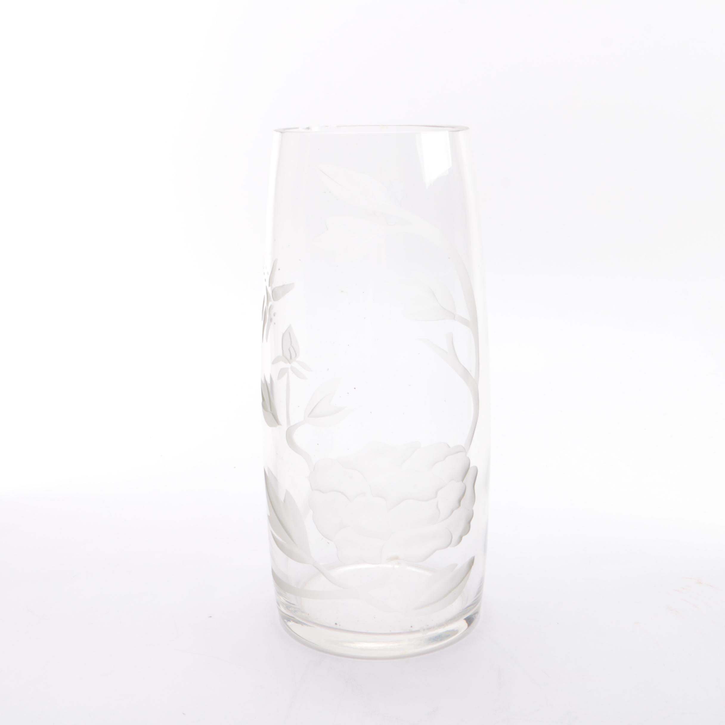 Vicki Santo Signed Floral Crystal Vase
