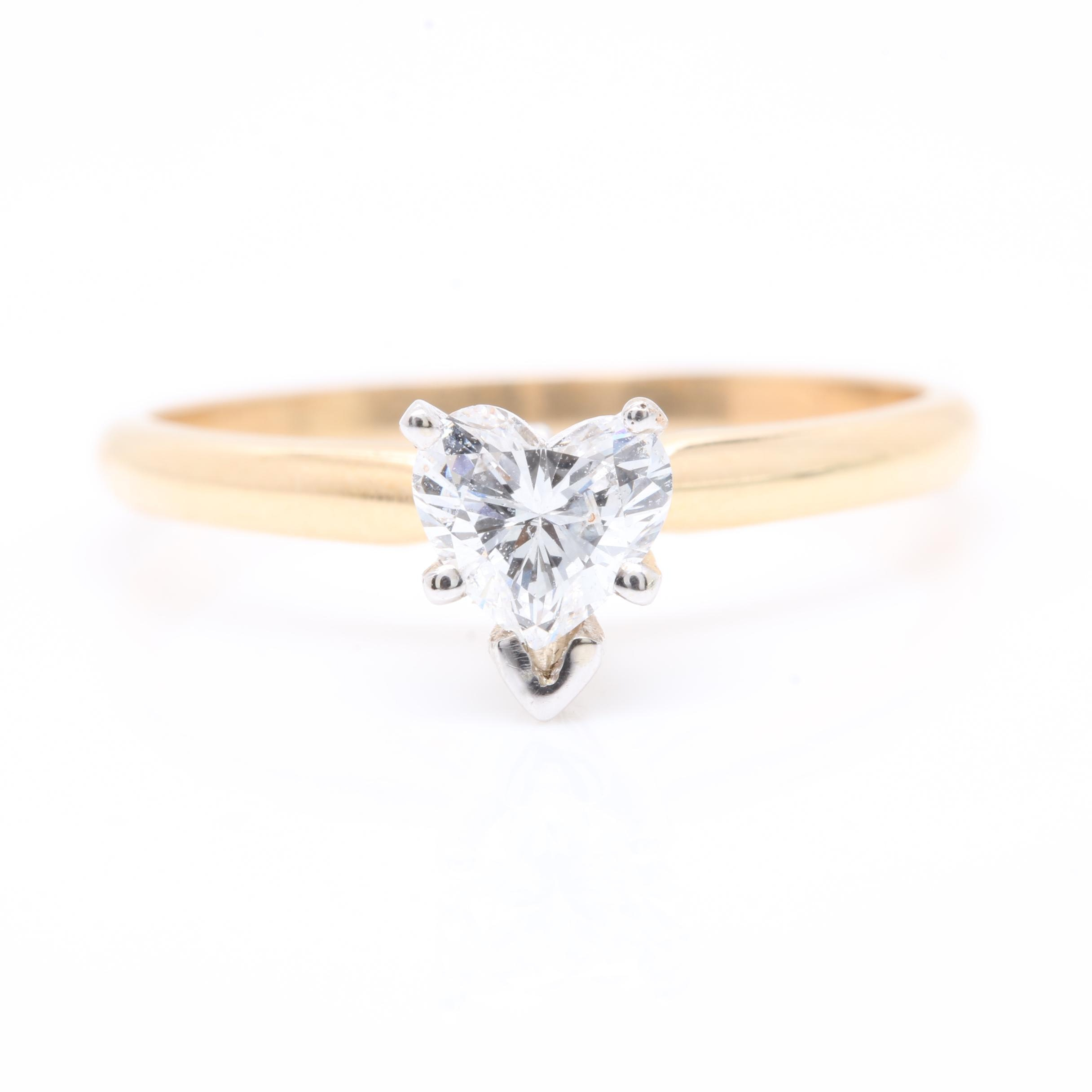 14K Yellow Gold Diamond Heart Solitaire Ring with White Gold Head