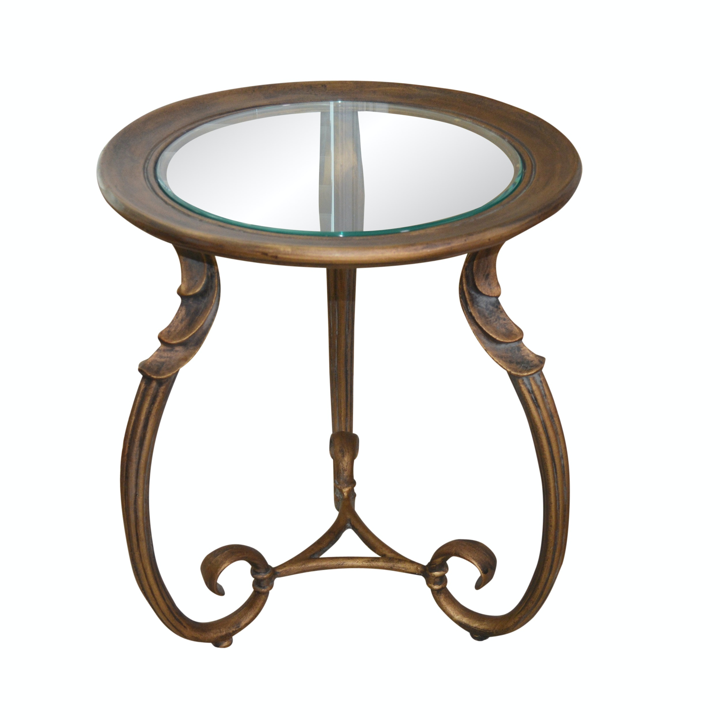Bronze Tone Metal and Glass Accent Table