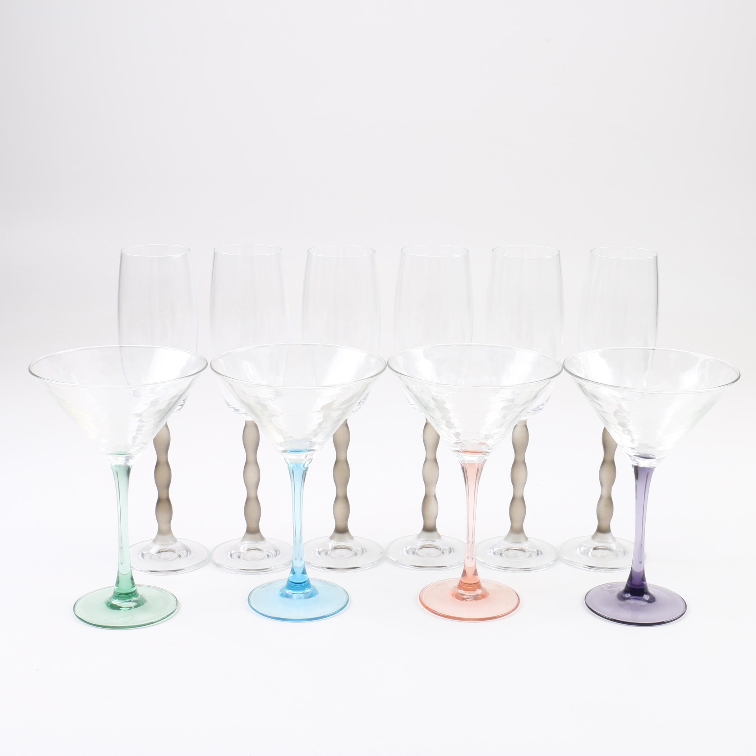 Champagne Flutes and Martini Glasses with Colorful Stems