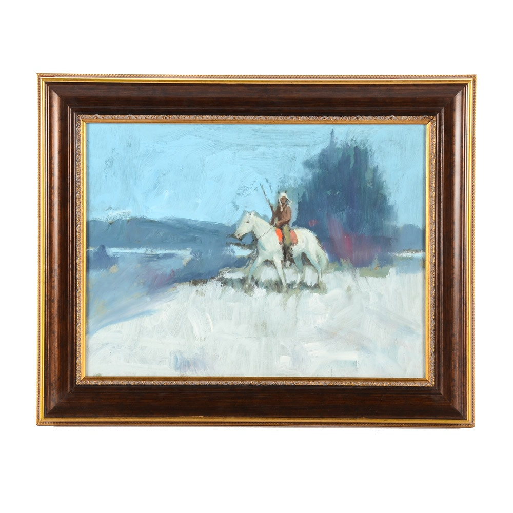 Harry Barton Original Oil Painting on Masonite of Native American on Horseback