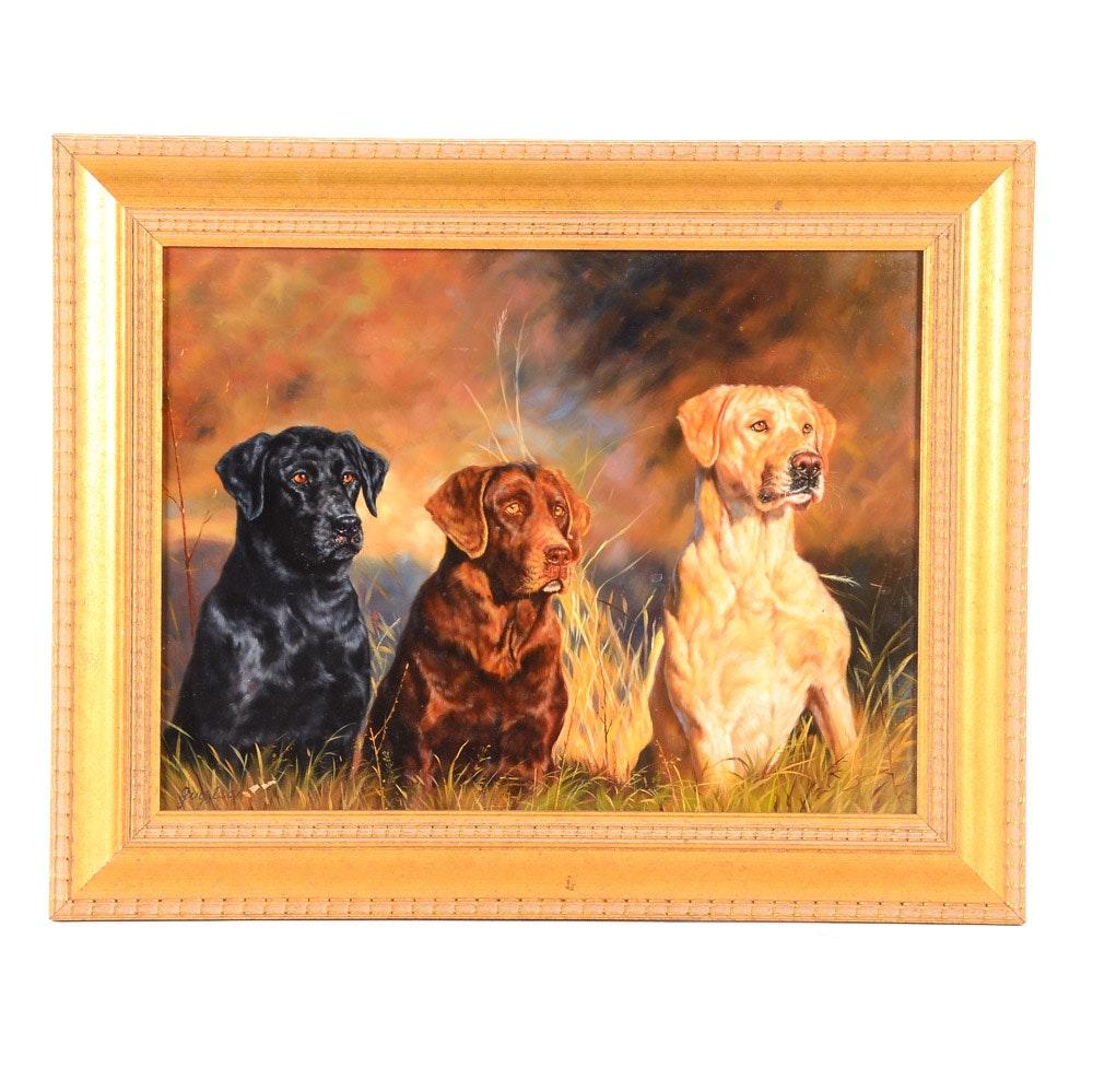 Guy Leon Original Oil Painting on Panel of Three Dogs