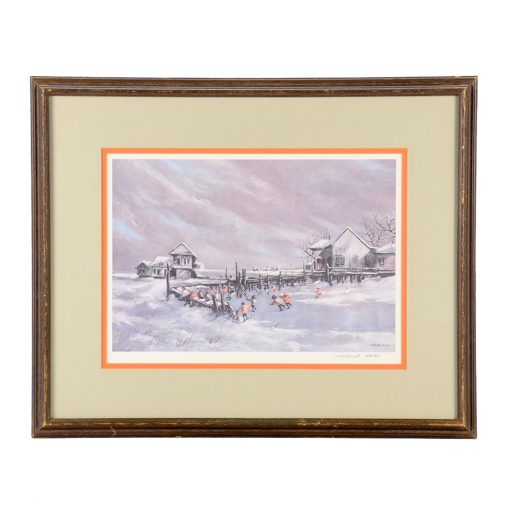 """Robert Fabe Signed Offset Lithograph Print """"A Winter Scene"""""""