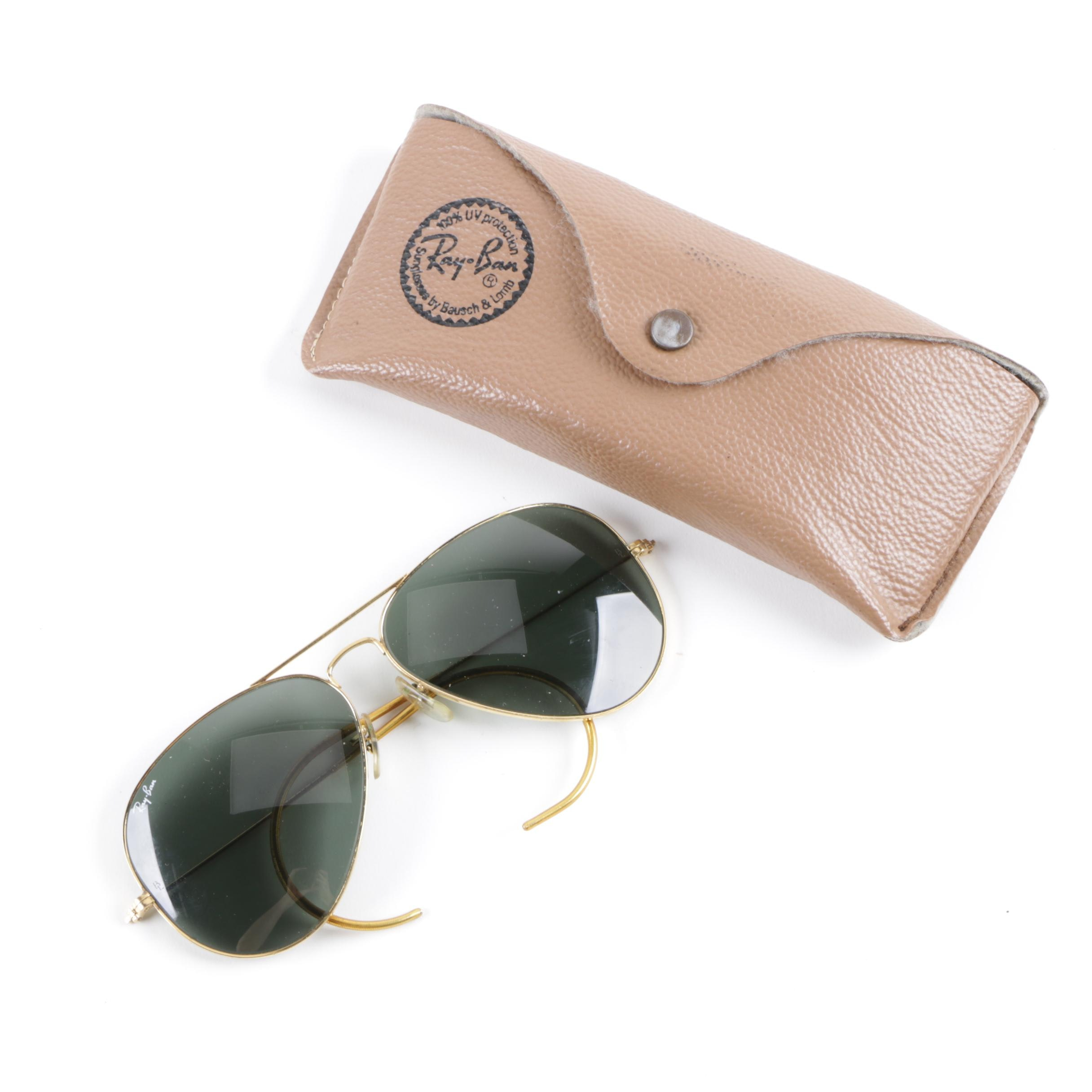 1970s Vintage Bausch and Lomb Ray-Ban Aviator Sunglasses with Original Documents