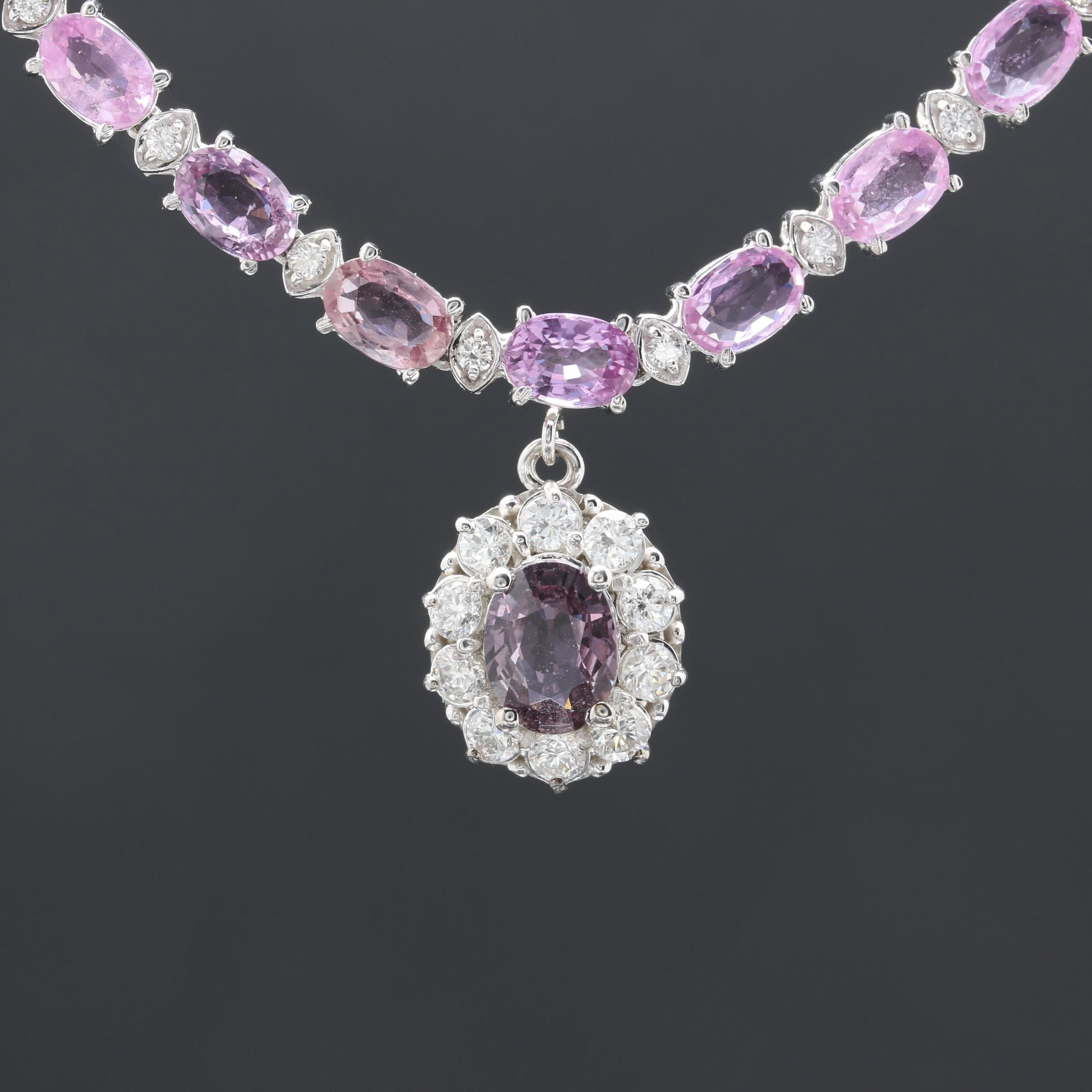 14K White Gold Pink Sapphire and 1.73 CTW Diamond Necklace