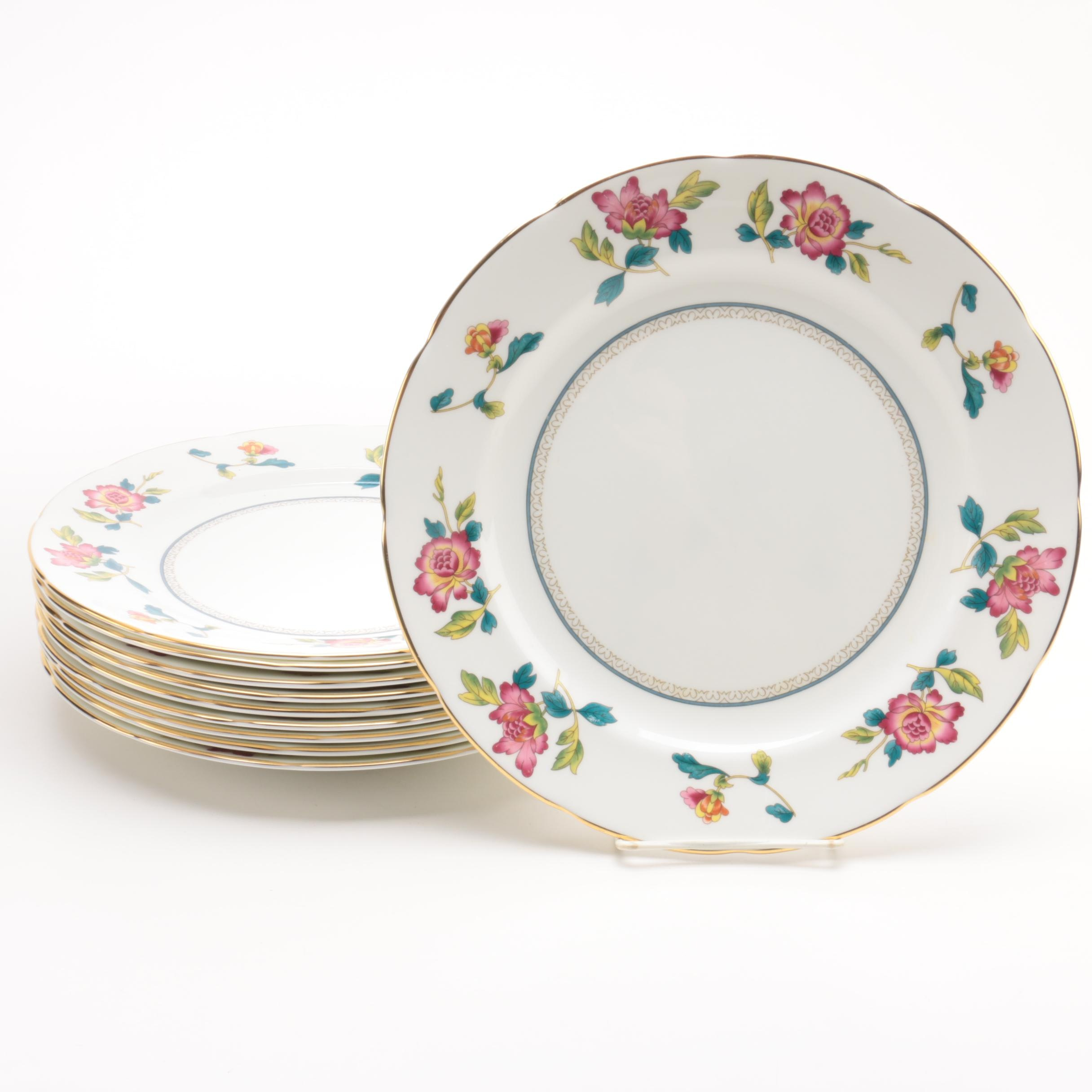 "Wedgwood ""Chinese Flowers"" Porcelain Dinner Plates"