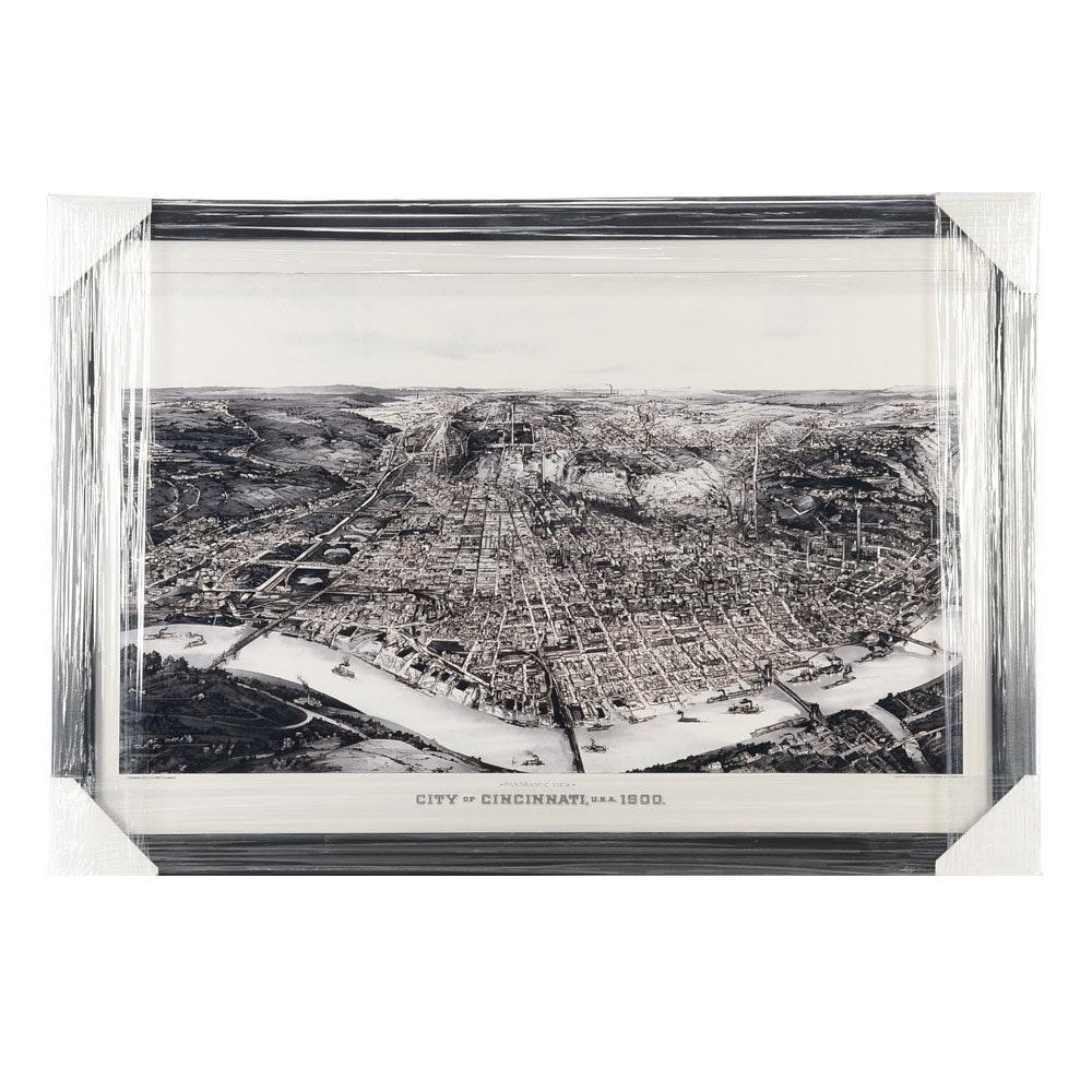 "Contemporary ""City of Cincinnati 1900"" Panoramic Framed Print"