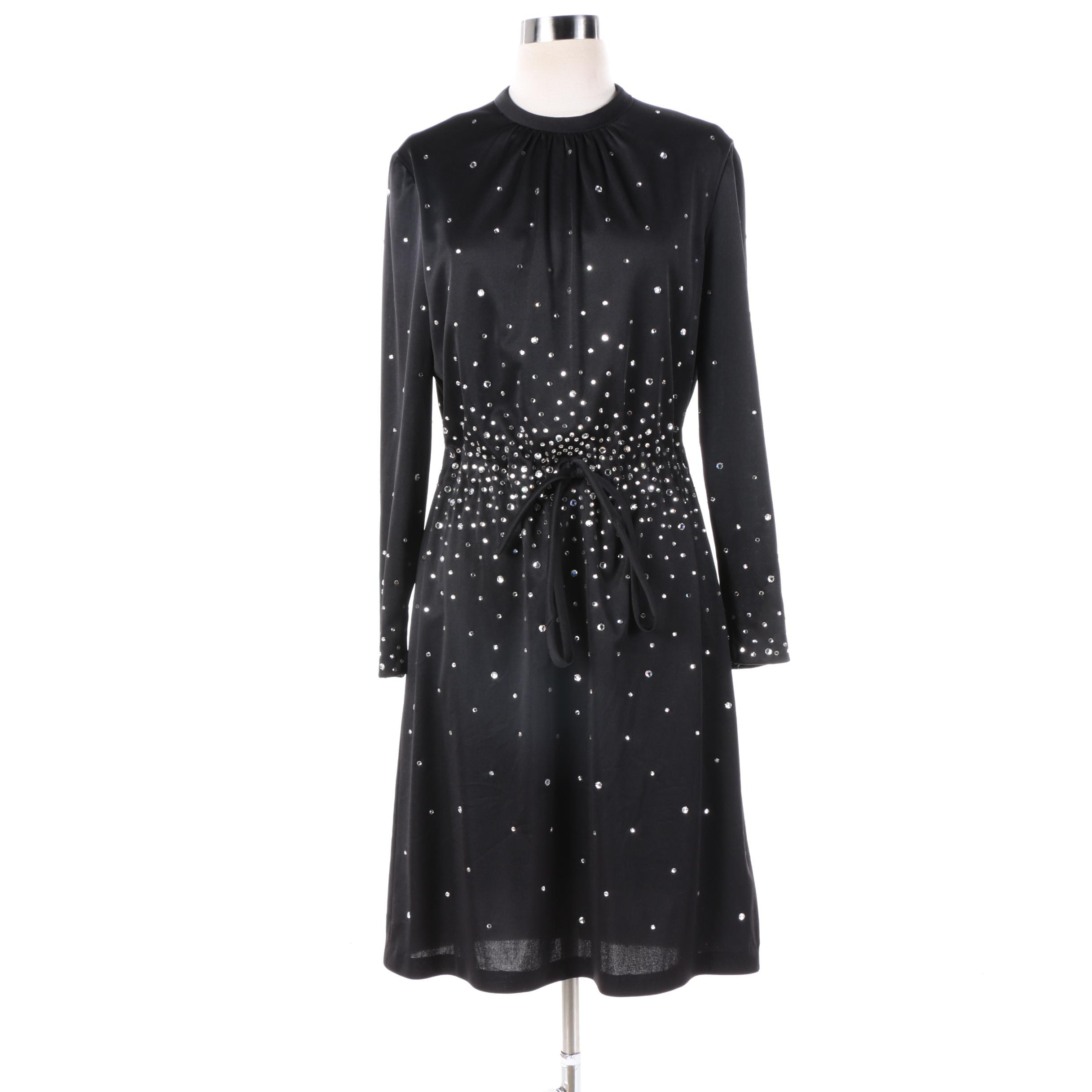 1960s Vintage Arbé Black Cocktail Dress with Rhinestone Burst Accent