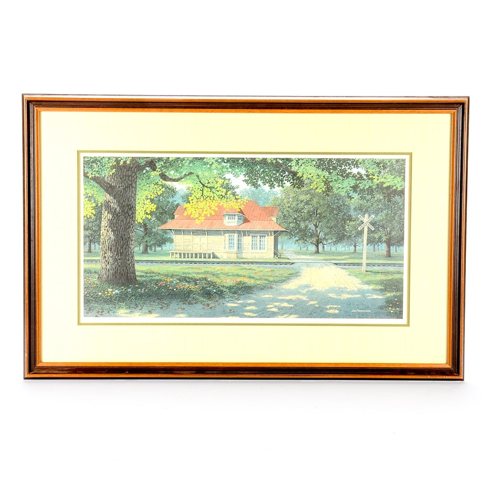 Jim Harrison Signed Limited Edition Offset Lithograph Print of Train Depot