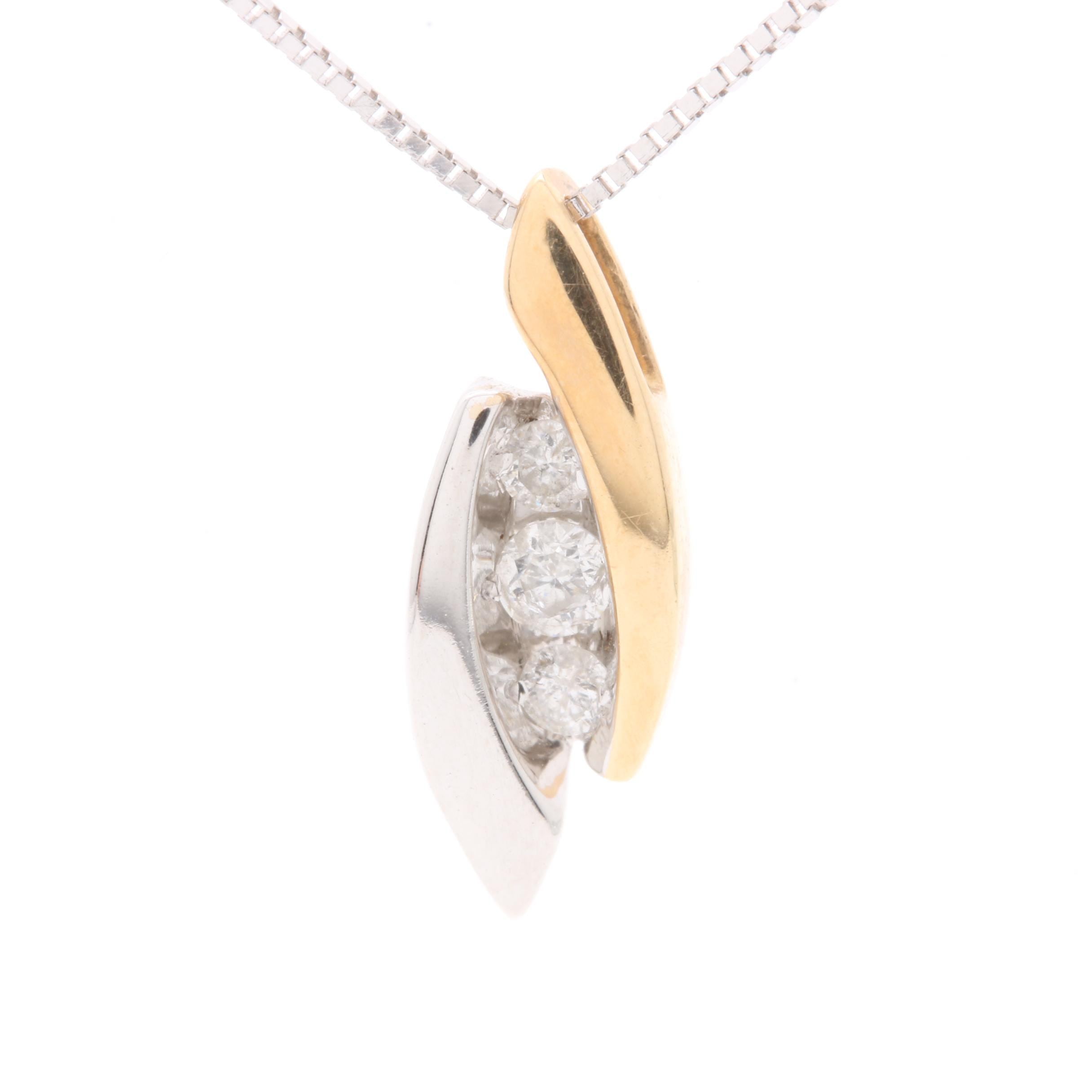 14K White Gold Diamond Pendant Necklace with 14K Yellow Gold Accent