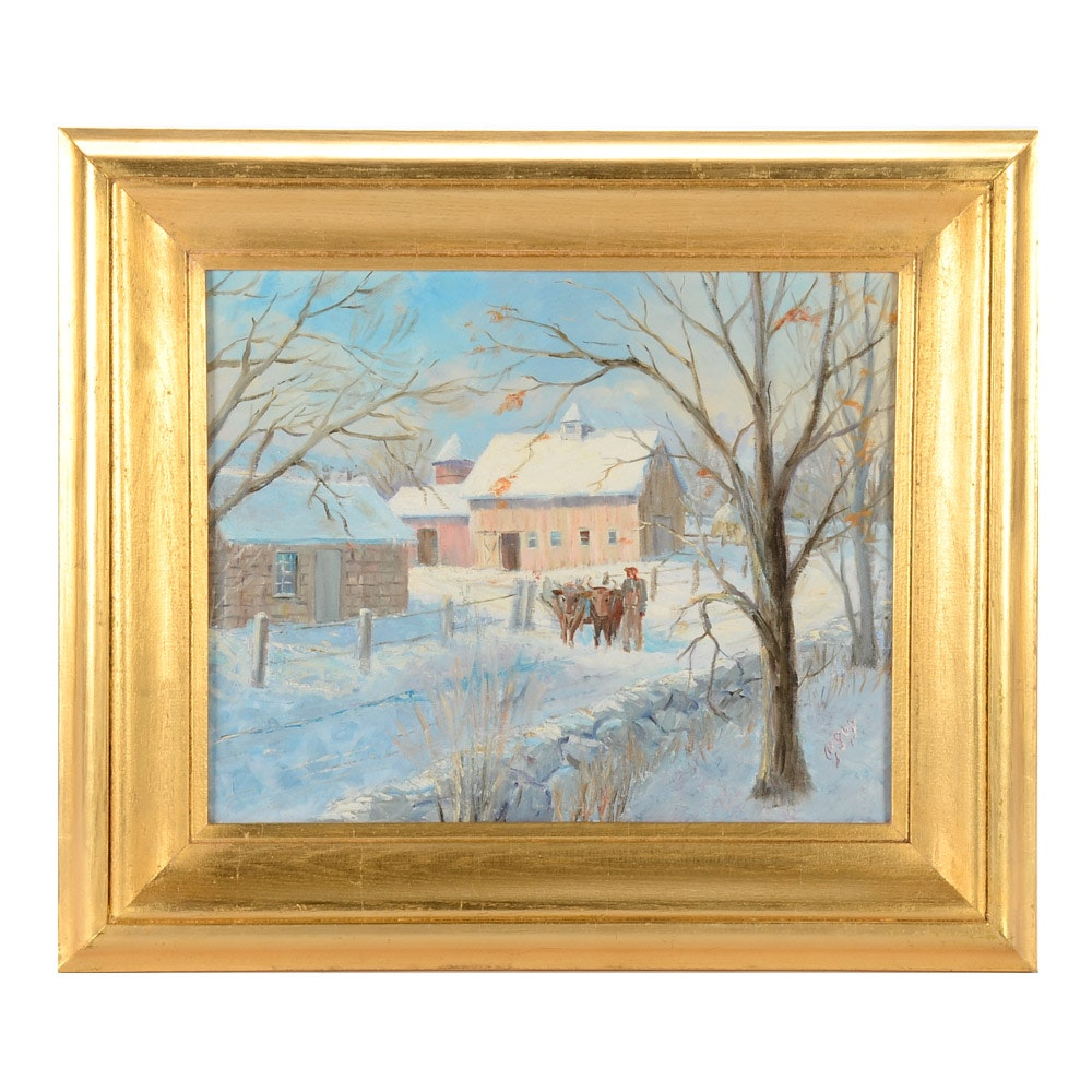 M. Guy Orignal Oil Painting on Canvas Board of Winter Pastoral Scene