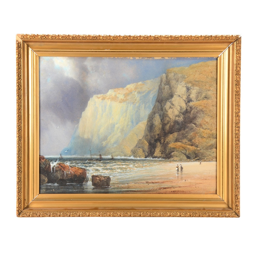Edgar E. West Late-19th Century Watercolor Painting on Paperboard