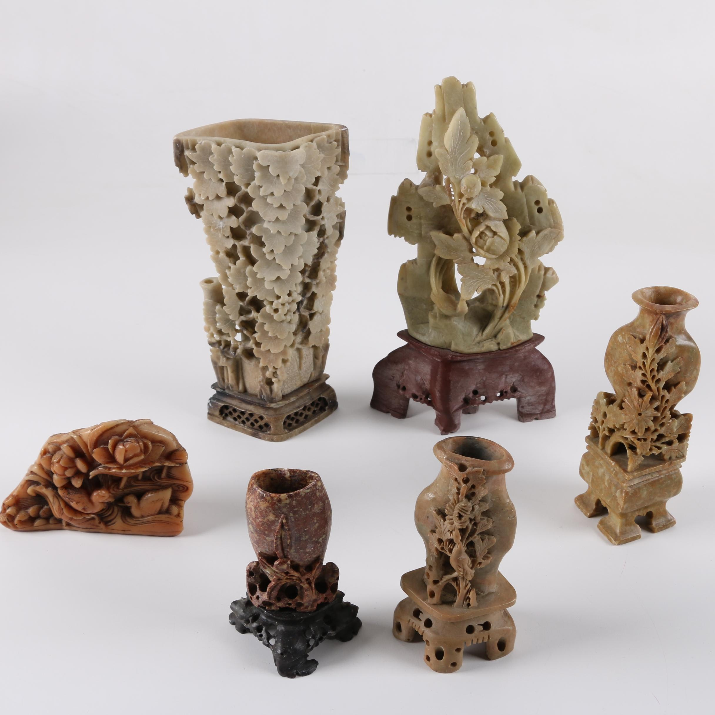 Chinese Soapstone and Plastic Vases and Figurines