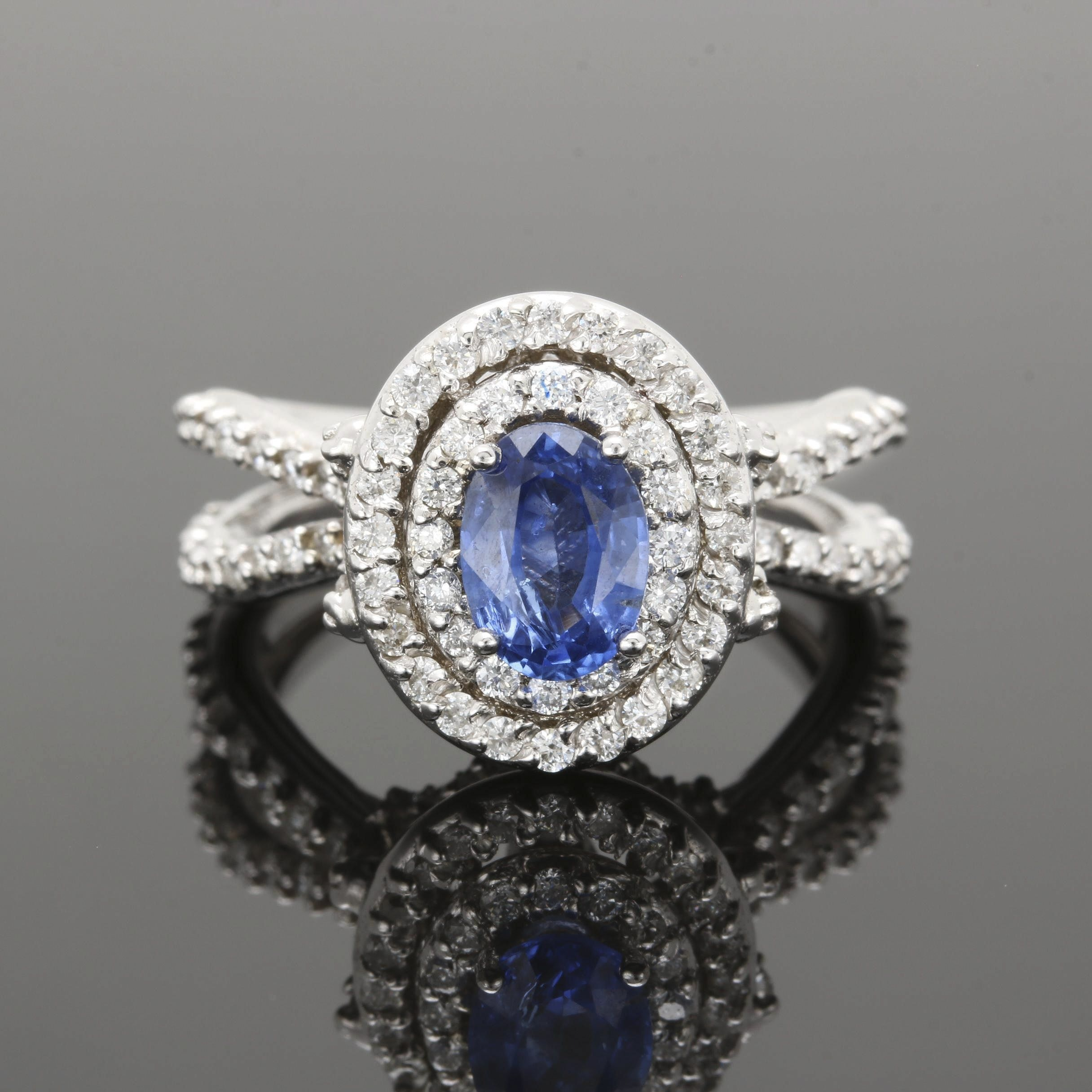 14K White Gold Blue Sapphire and 1.06 CTW Diamond Ring