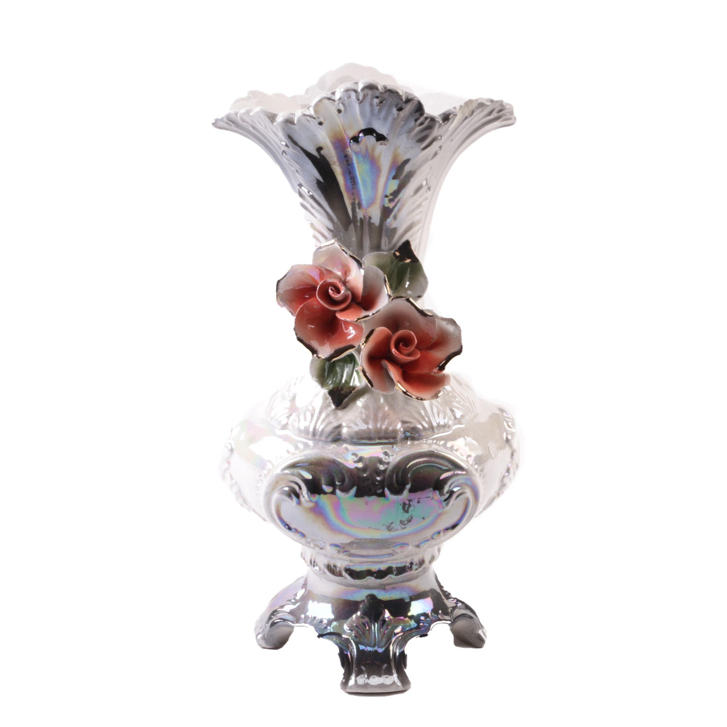 Hand-Painted Capodimonte Style Porcelain Vase