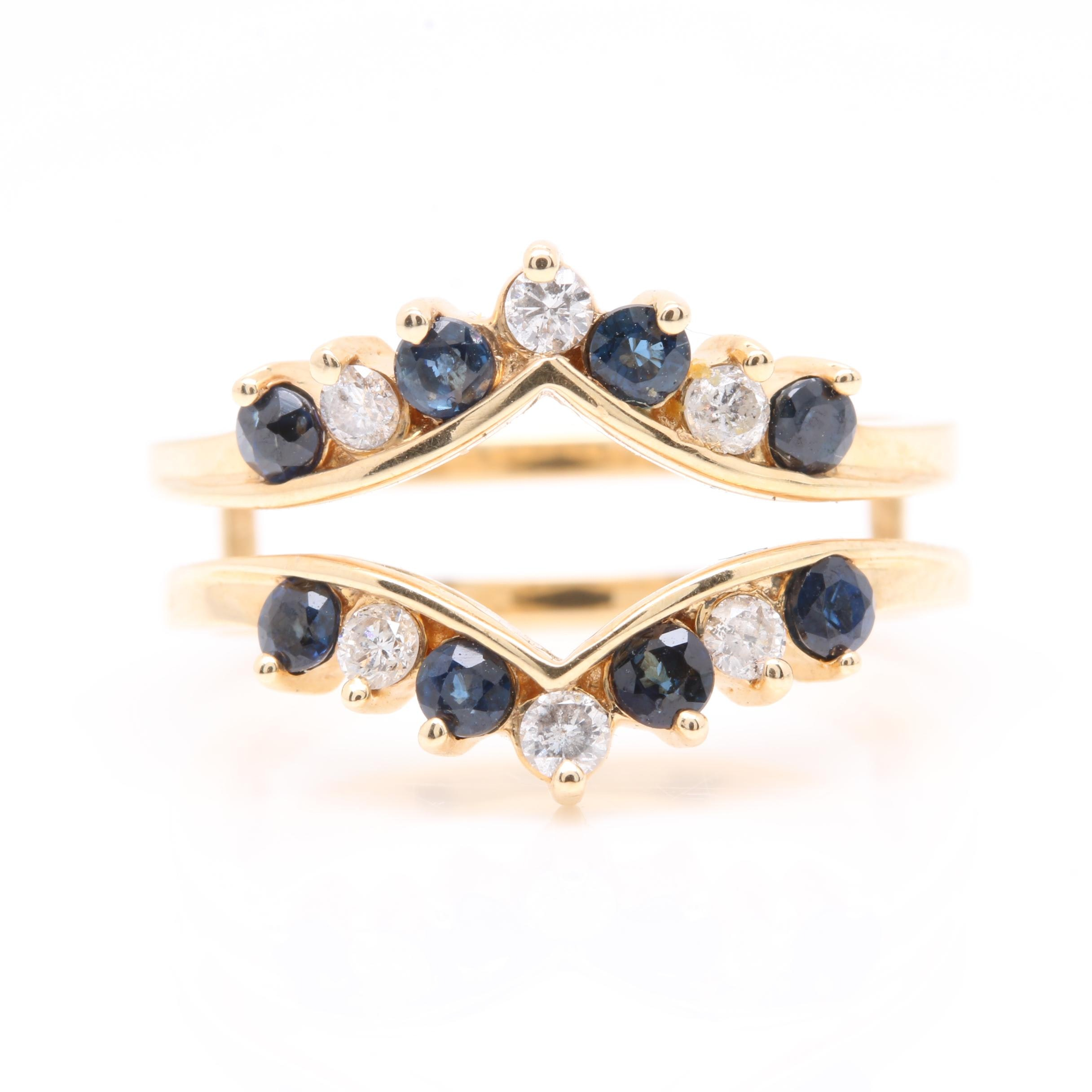 14K Yellow Gold Diamond and Blue Sapphire Ring Guard
