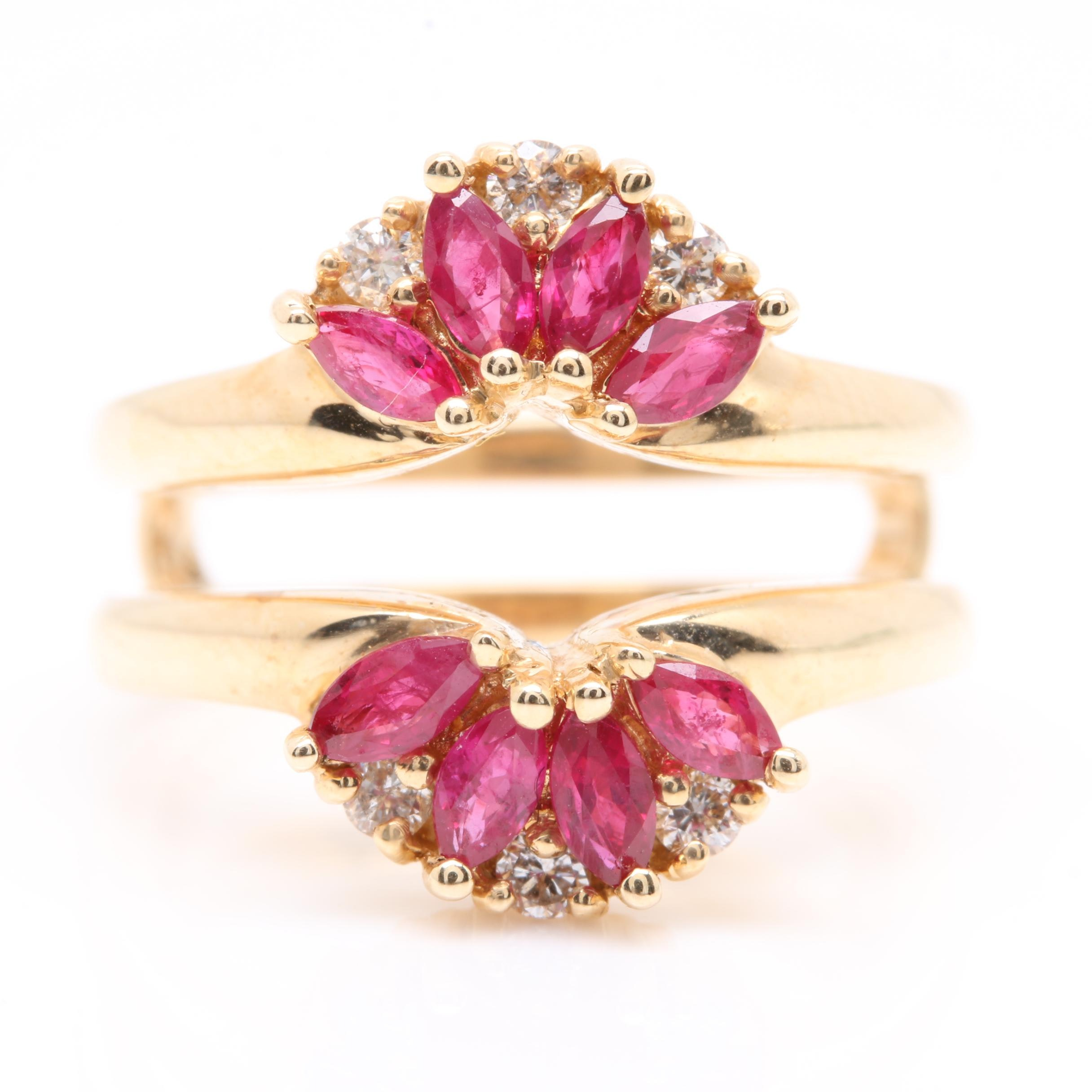 14K Yellow Gold Ruby and Diamond Ring Guard