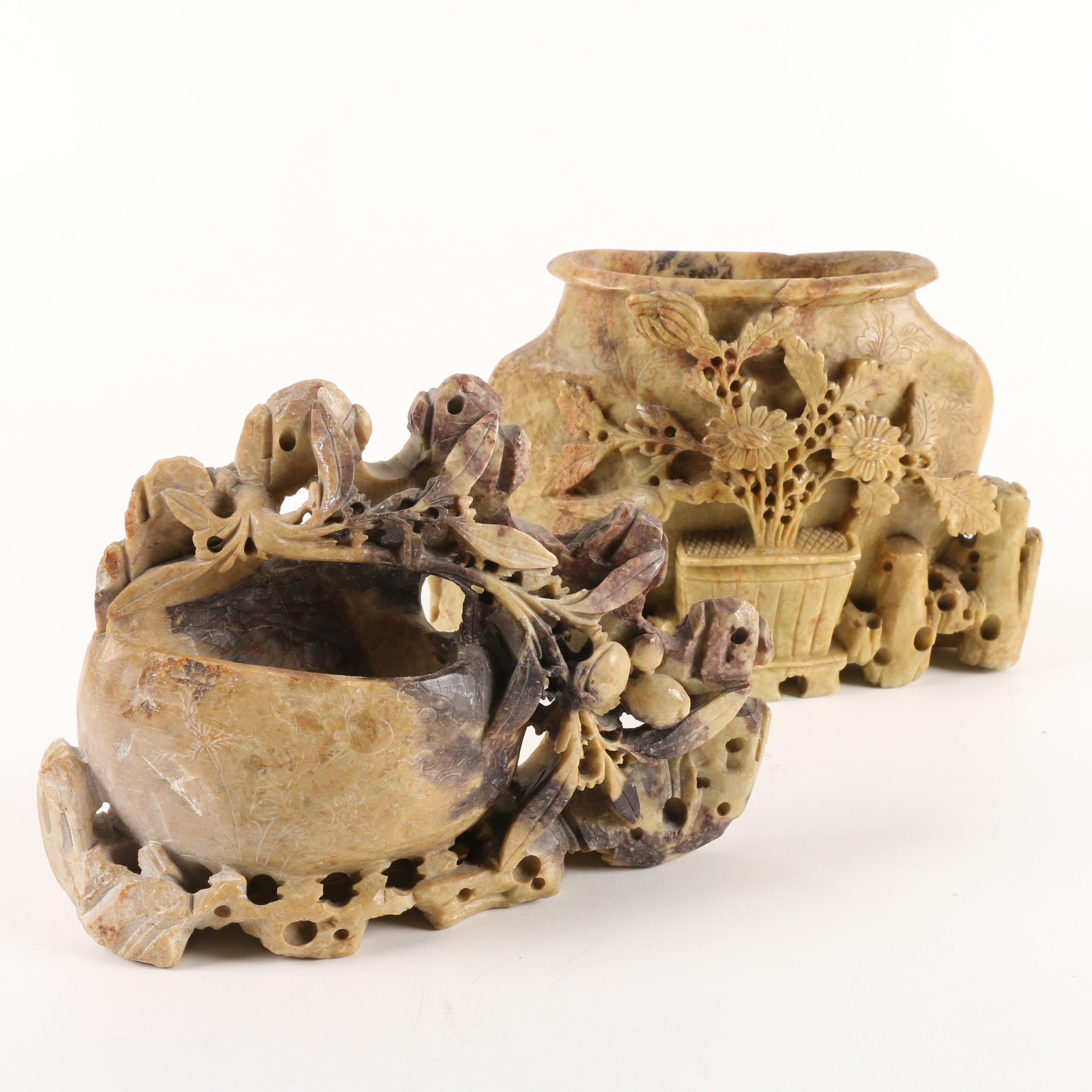 Chinese Carved Soapstone Inkwells