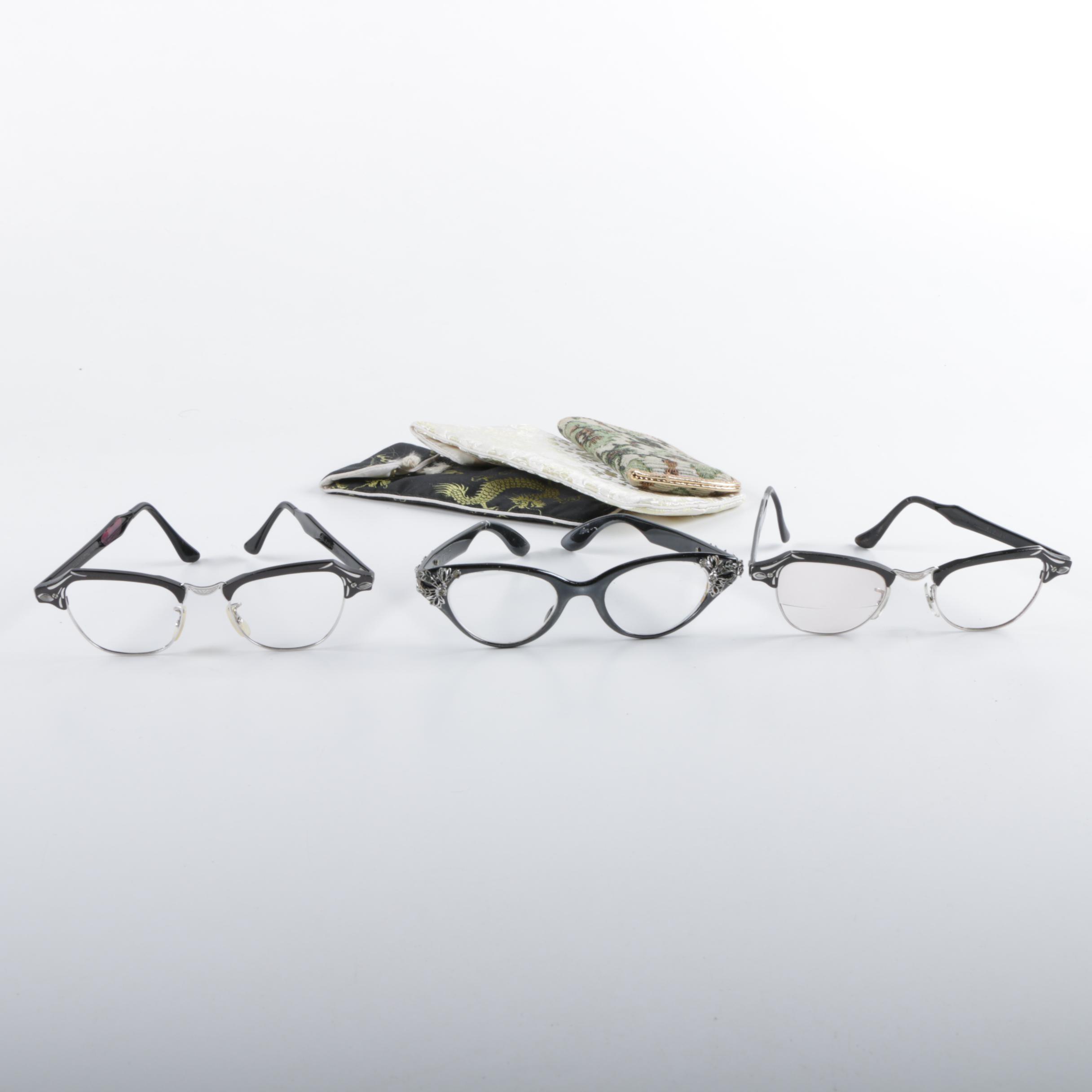 1950s Vintage Bausch & Lomb and Flair Rhinestone Cat Eye Eyeglasses