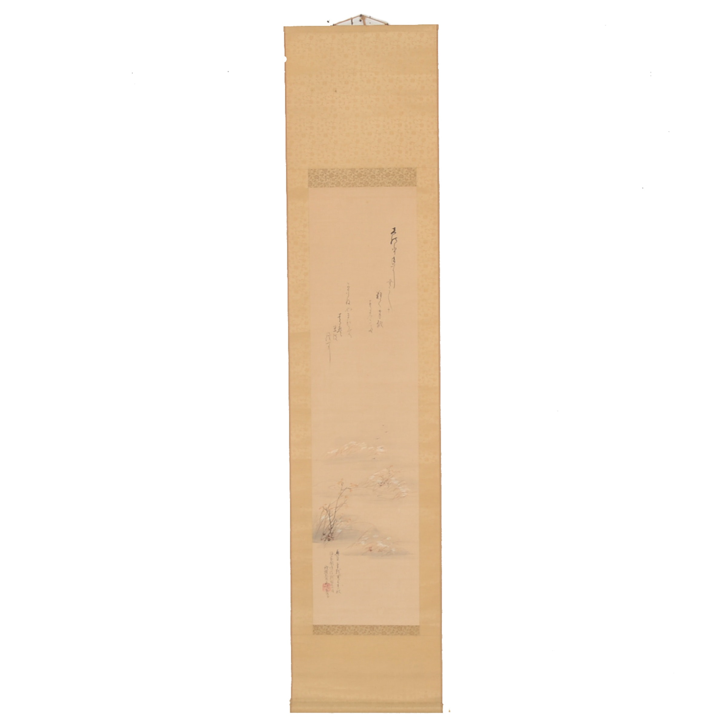 Vintage Japanese Hand-Painted Hanging Scroll
