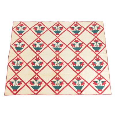 "Antique Handmade ""Tulip Basket"" Red and Green Applique Quilt"