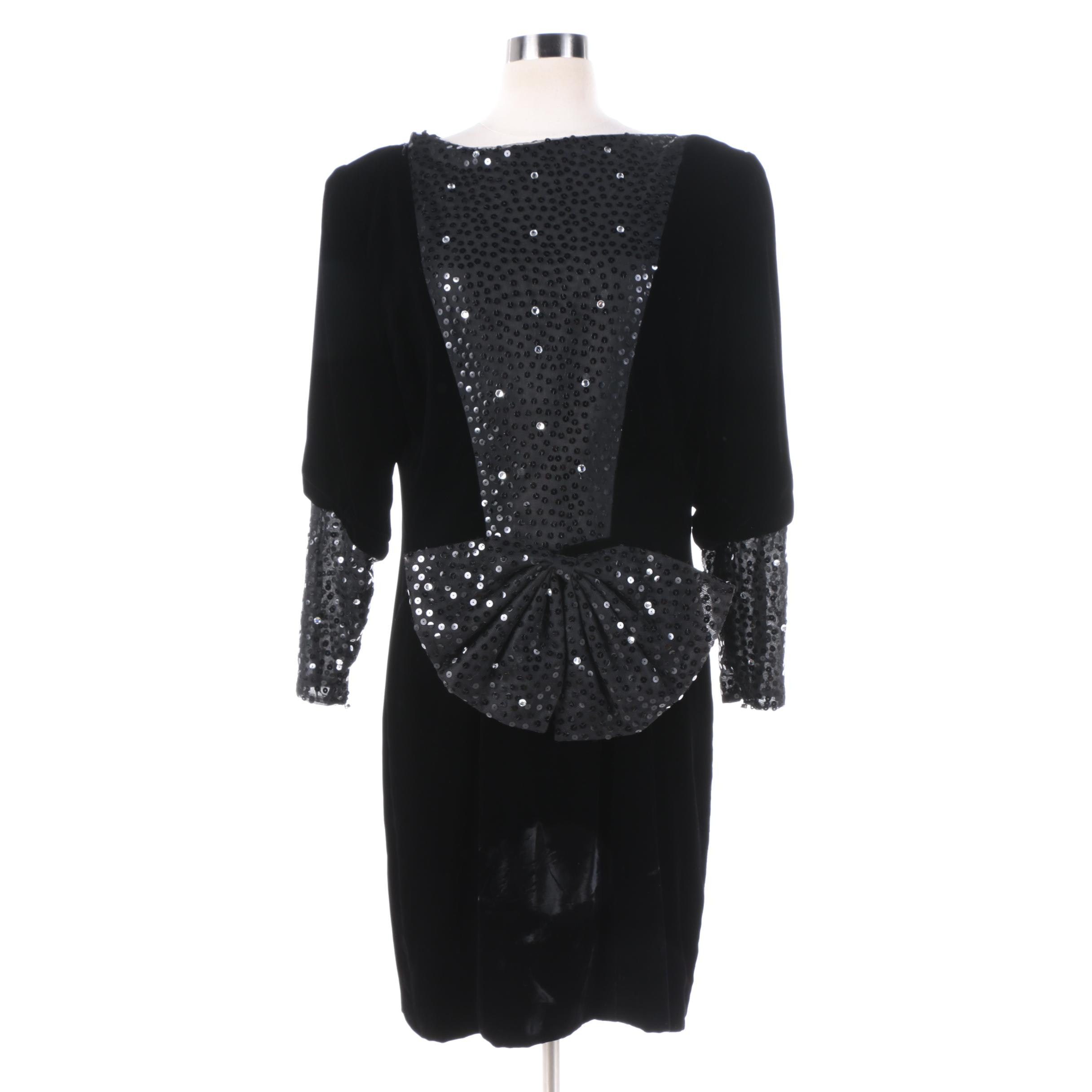 1980s Vintage Christian Dior Black Velvet and Sequin Evening Dress