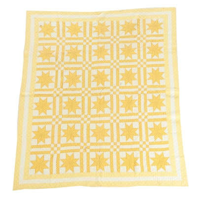 """Vintage Handmade Yellow Calico """"Eight-Point Star"""" Quilt"""