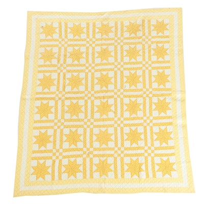 "Vintage Handmade Yellow Calico ""Eight-Point Star"" Quilt"