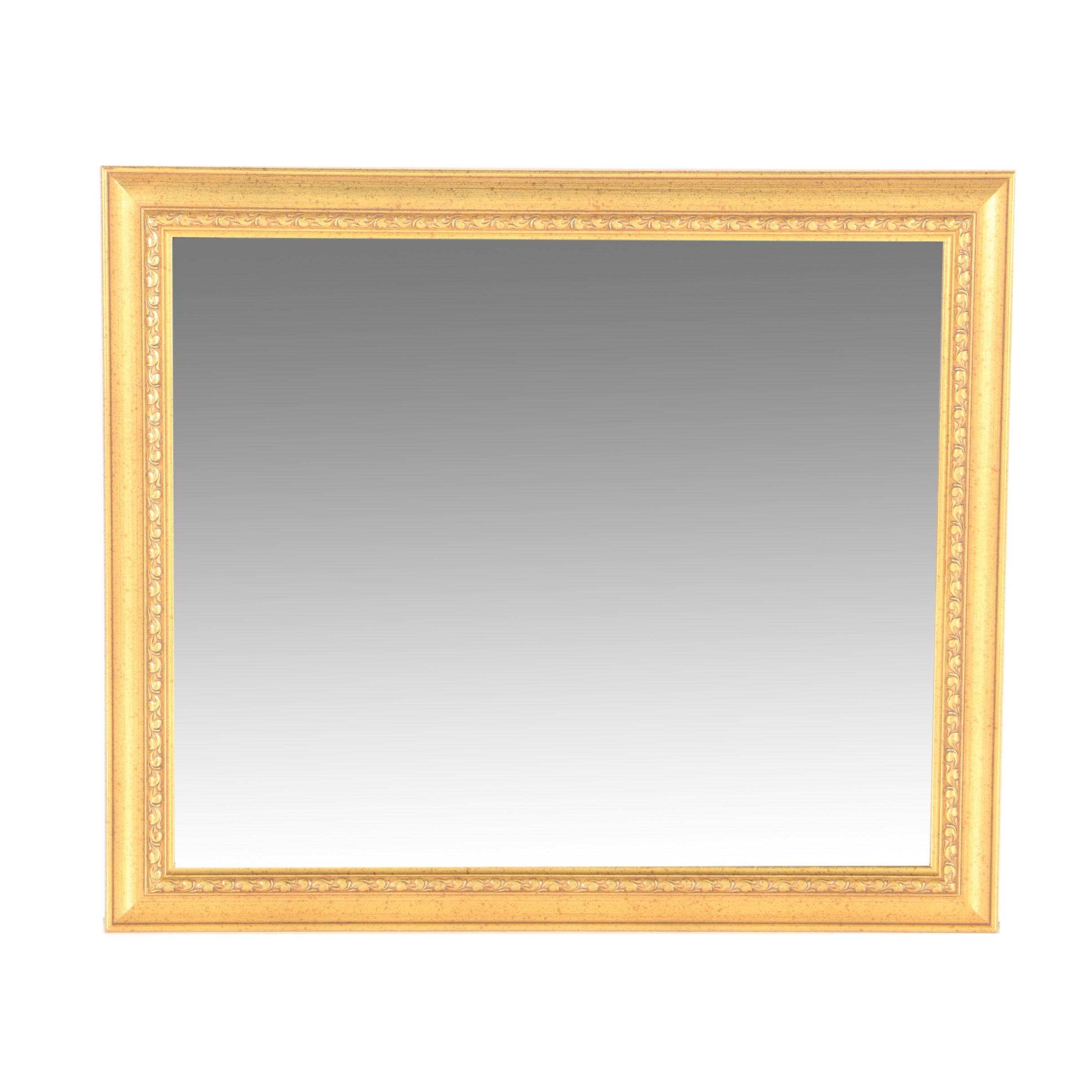 Gold Tone Wood Framed Wall Mirror