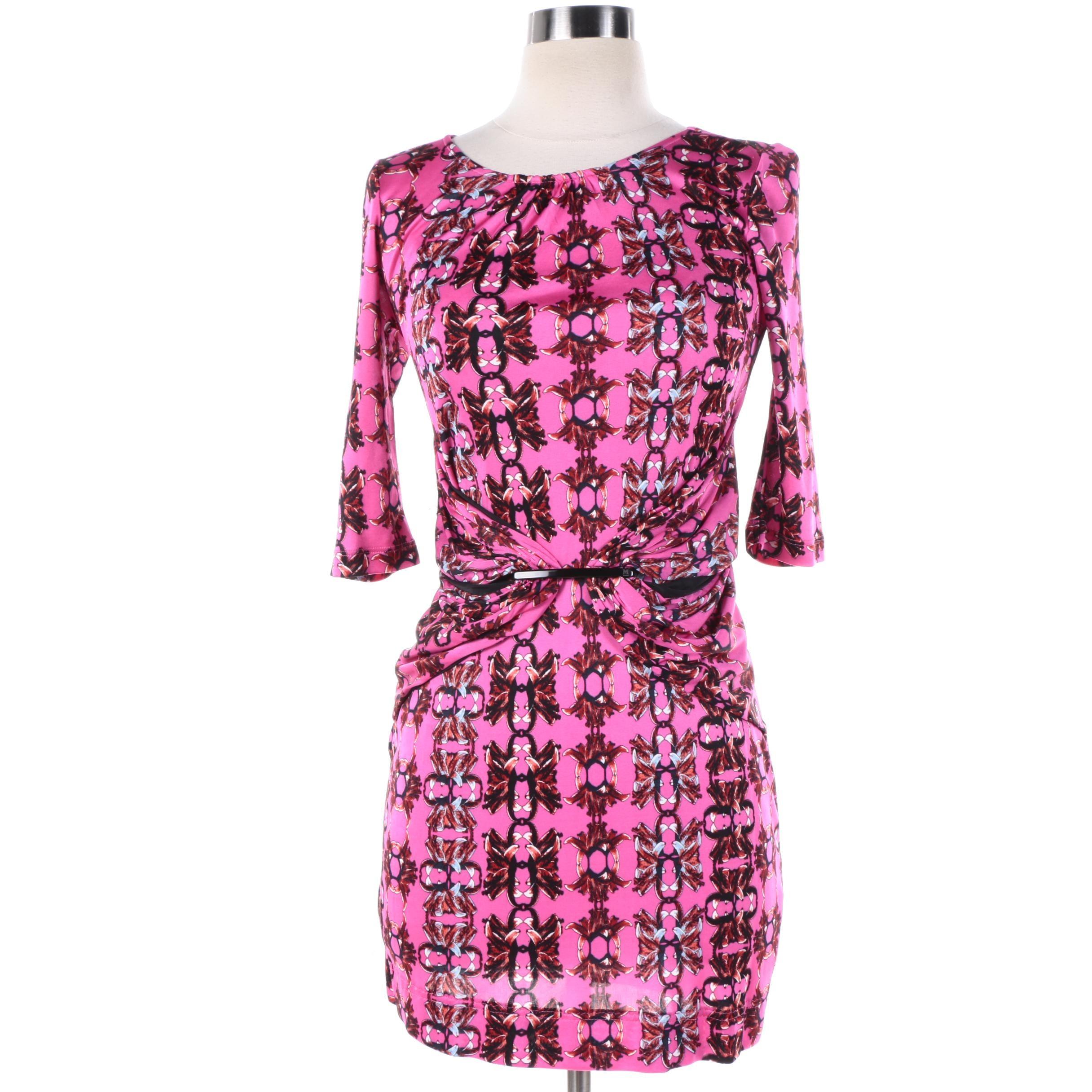 M Missoni Pink Floral Print Knit Dress
