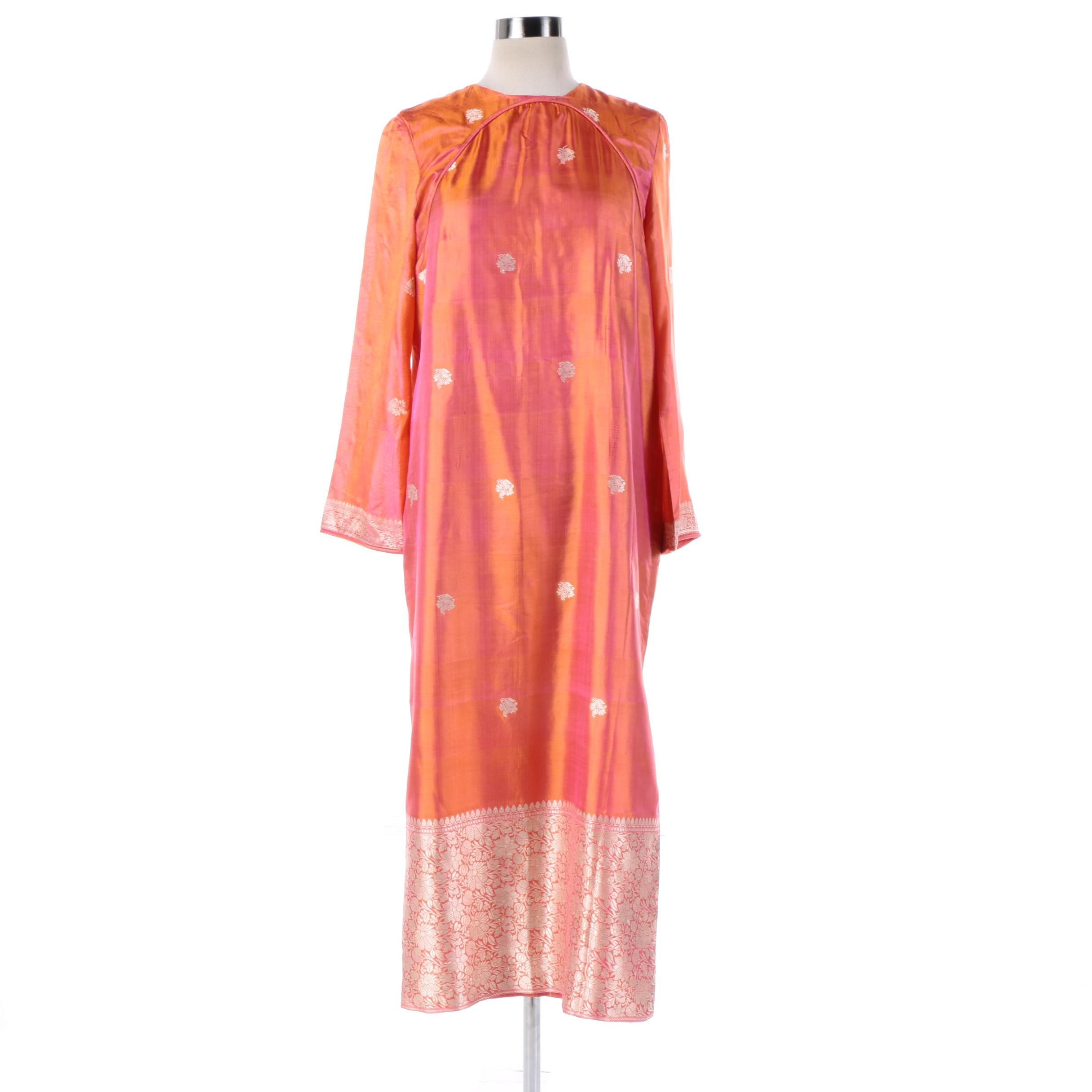 Vintage Iridescent Pink and Orange Indian Tunic Dress with Gold Embroidery