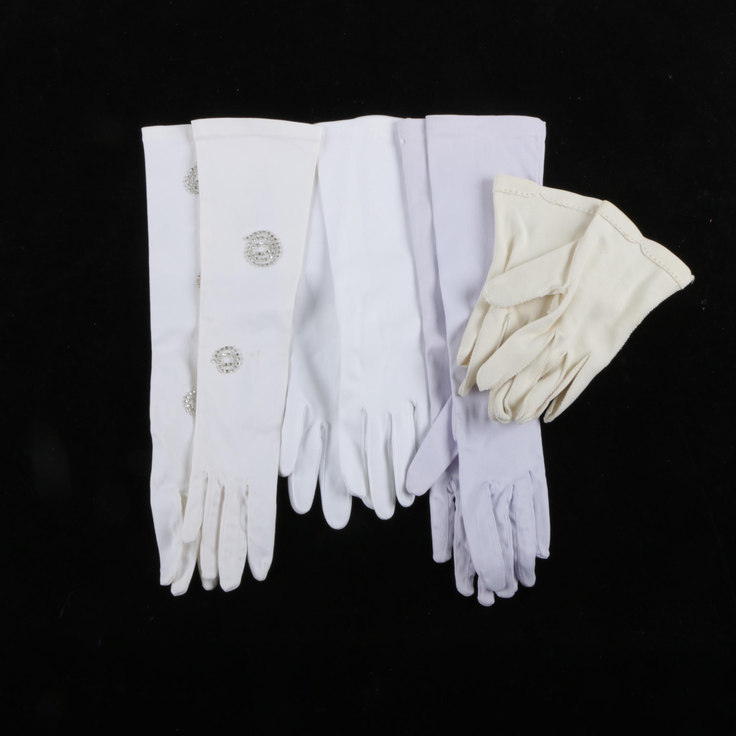 1960s Vintage White and Pastel Summer Gloves Including Rhinestones