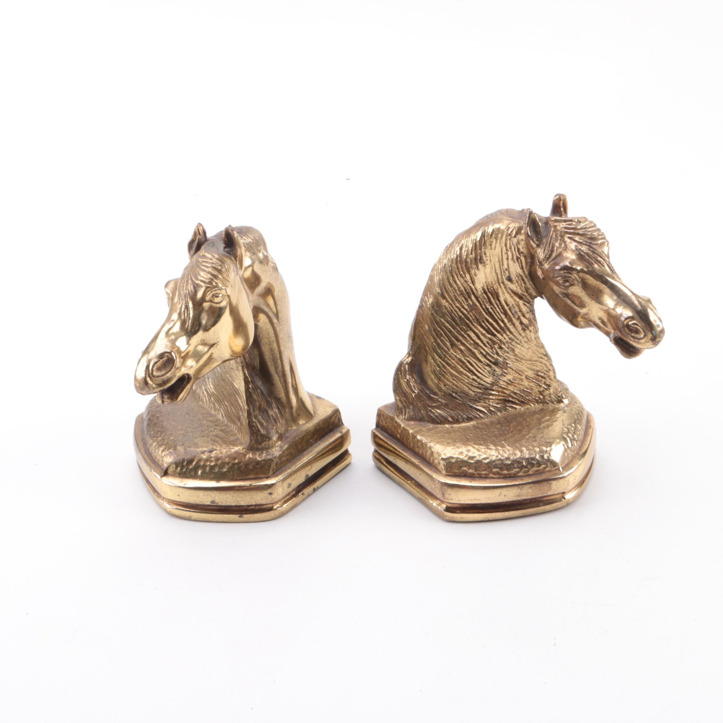 Cast Metal Horse Bust Bookends