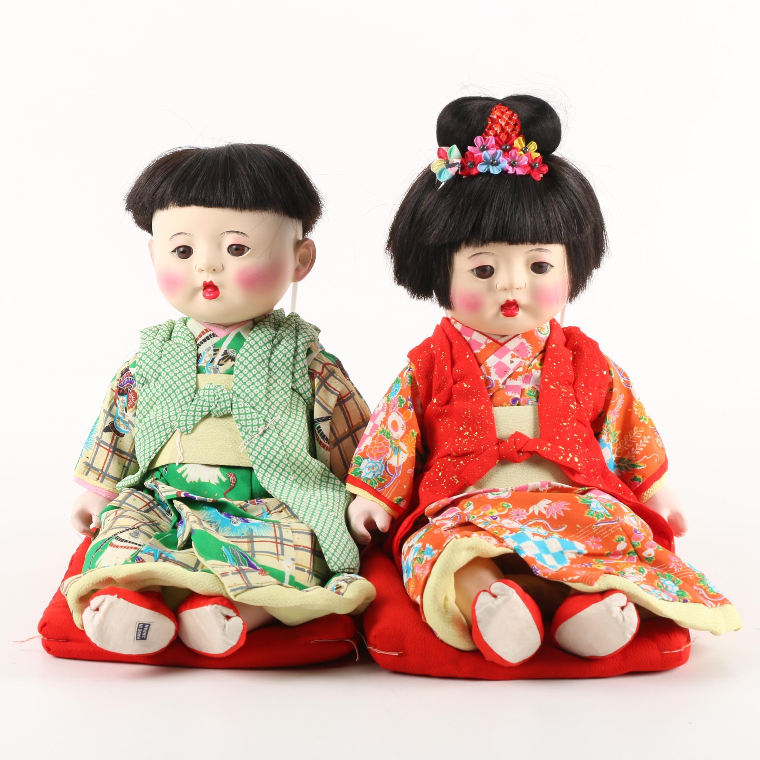 Vintage Japanese Porcelain Gofun Dolls