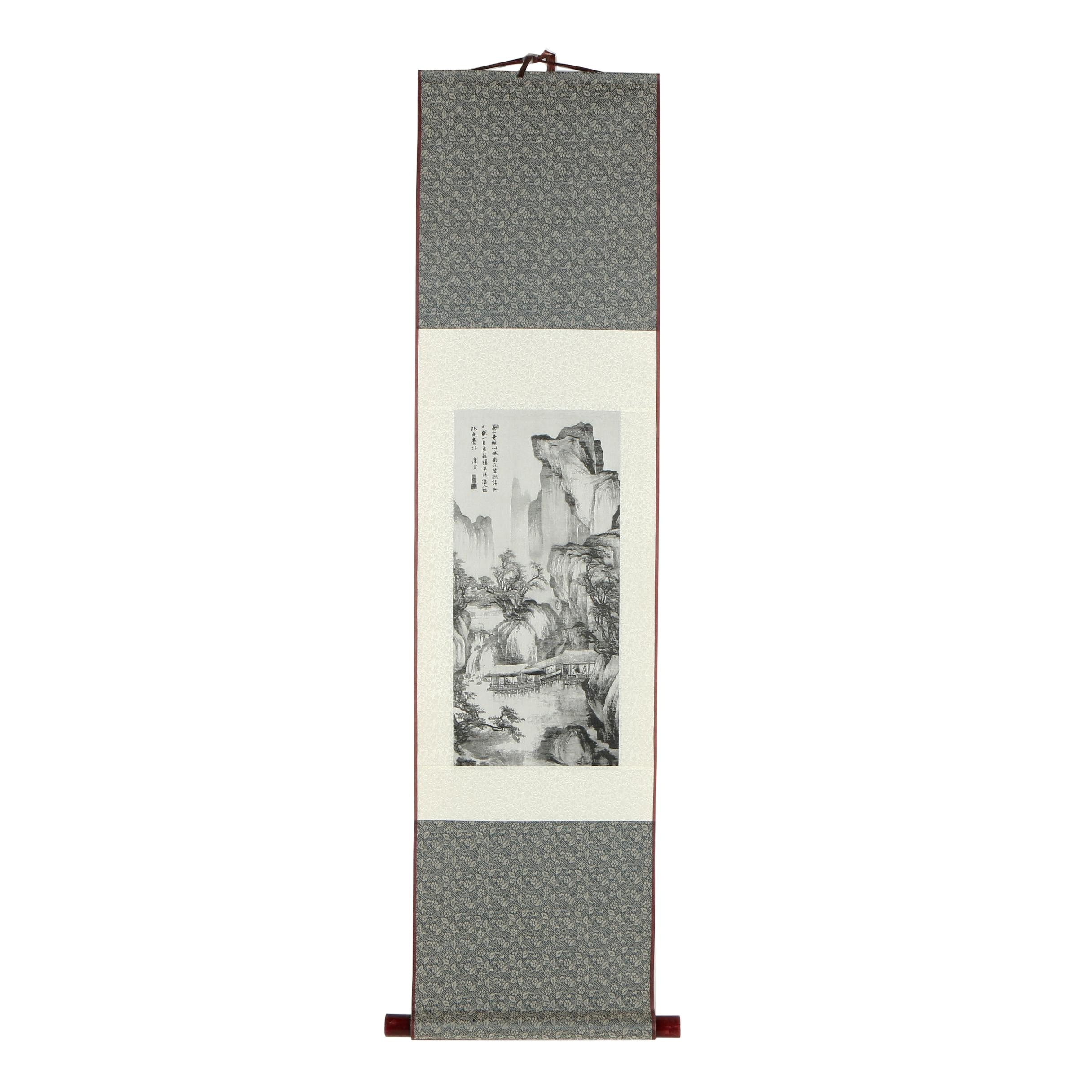 Chinese Machine-Woven Silk Tapestry Hanging Scroll