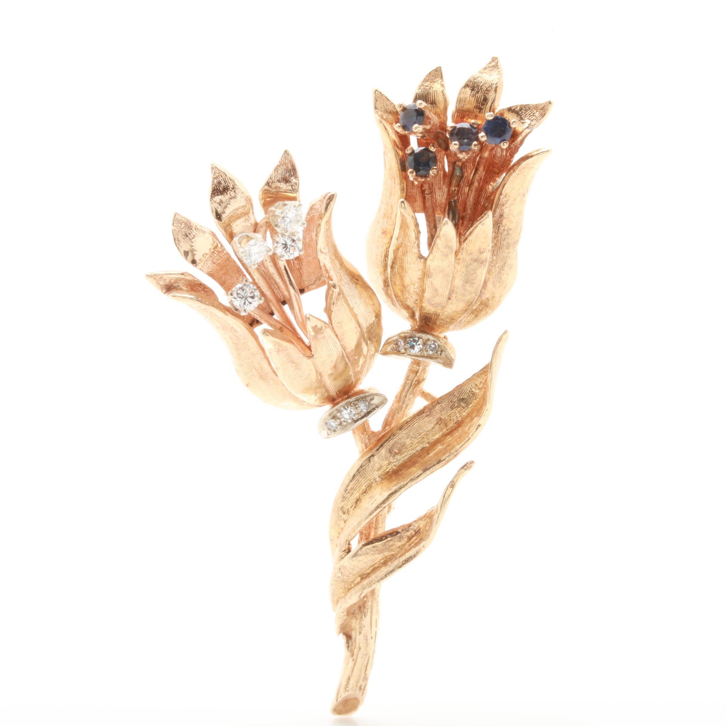 14K Yellow Gold Blue Sapphire and Diamond Flower Brooch