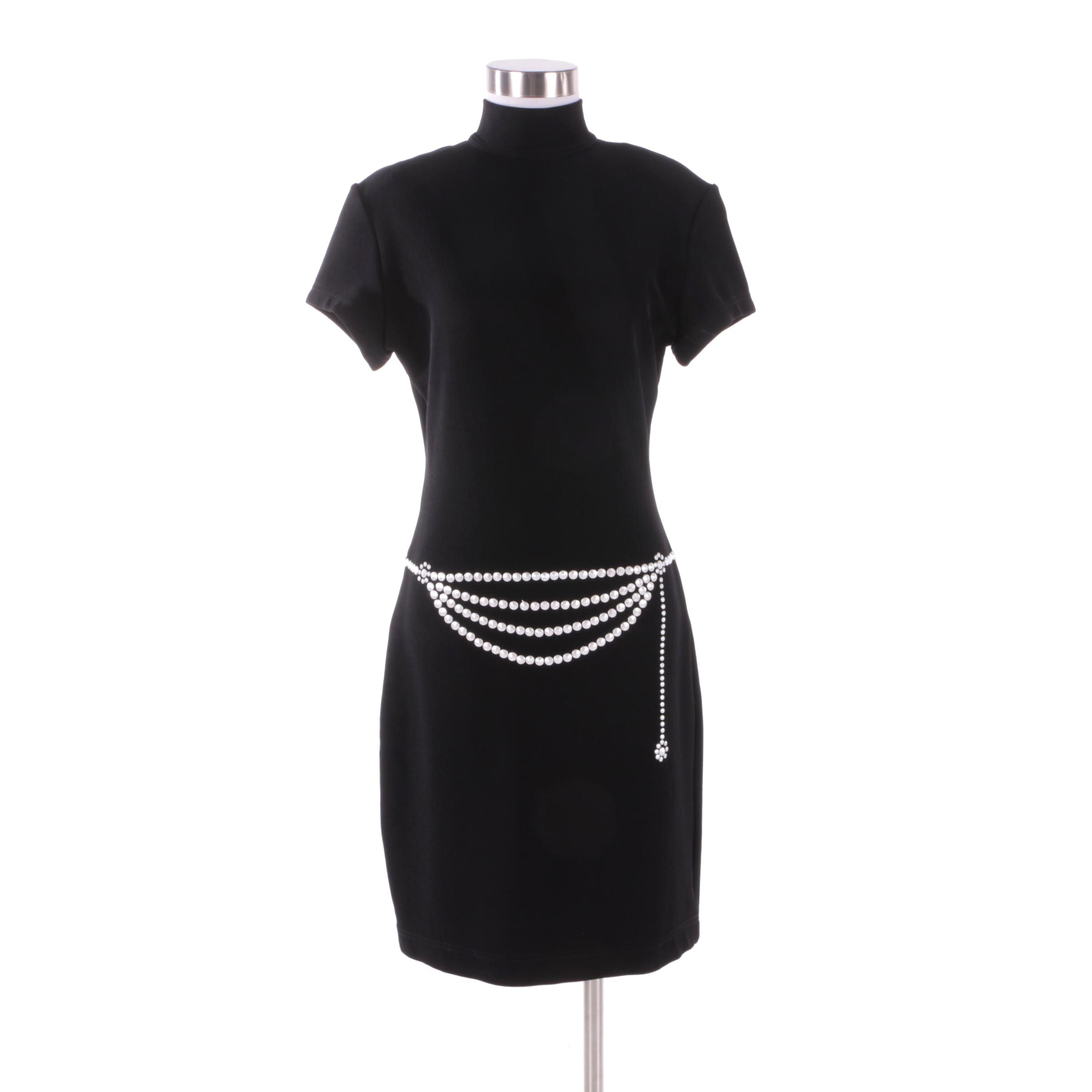 1980s Vintage Tadashi Shoji Black Shift Dress with Trompe l'Oeil Stud Belt
