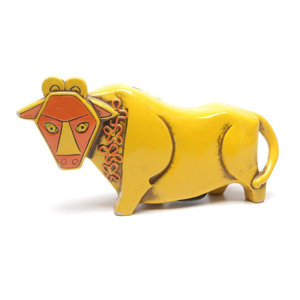 Pride Creations Yellow Papier-Mâché Cubist Bull Coin Bank