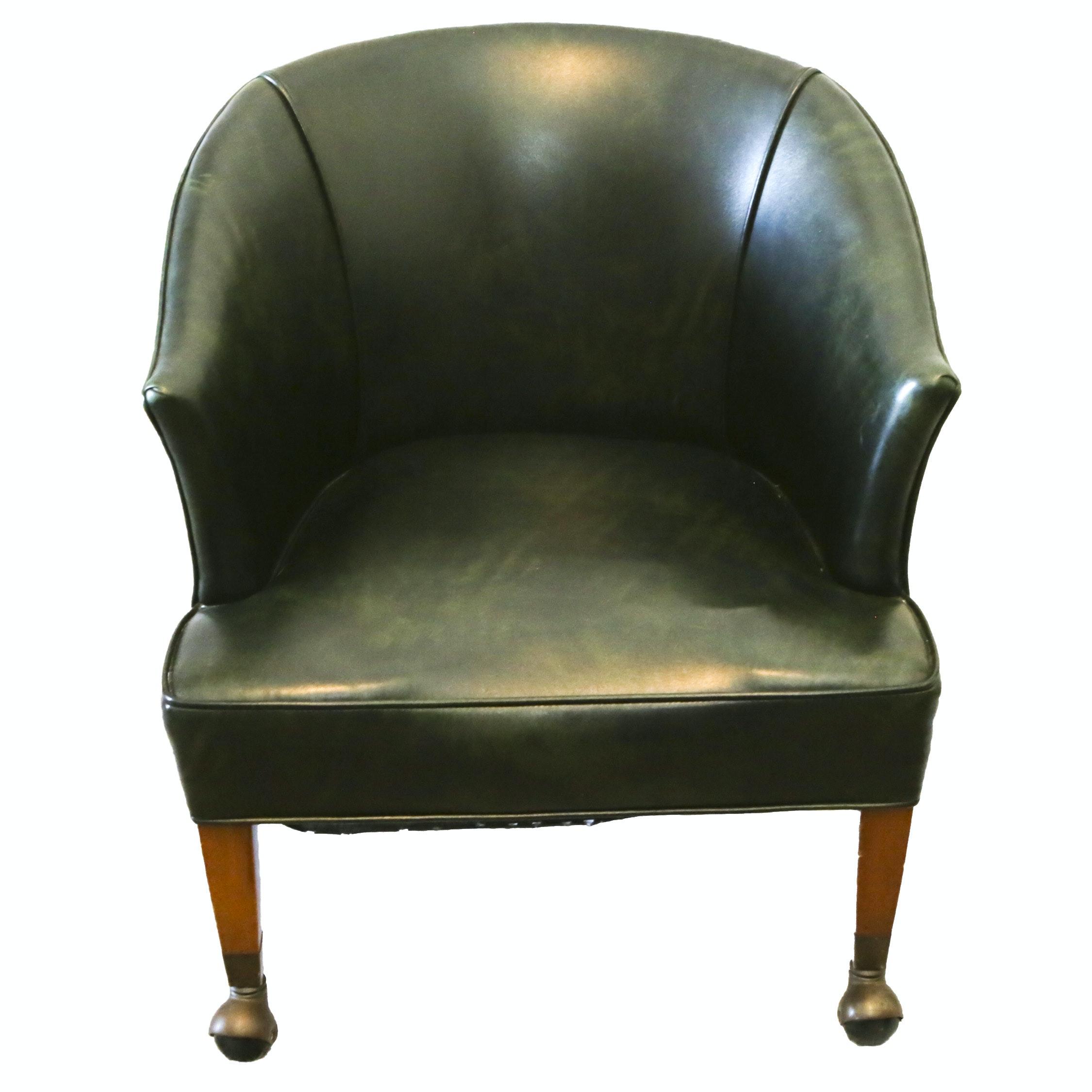 Vintage Green Vinyl Rolling Office Chair