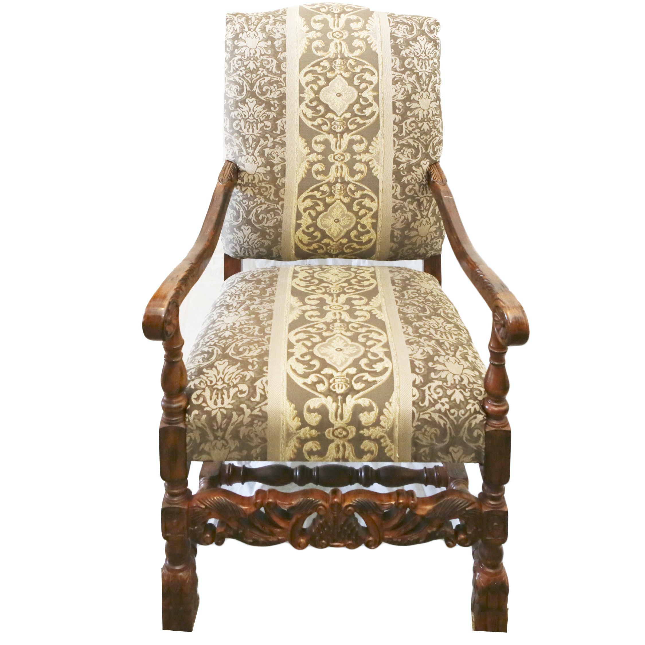 Contemporary Tudor Revival Style Upholstered Armchair