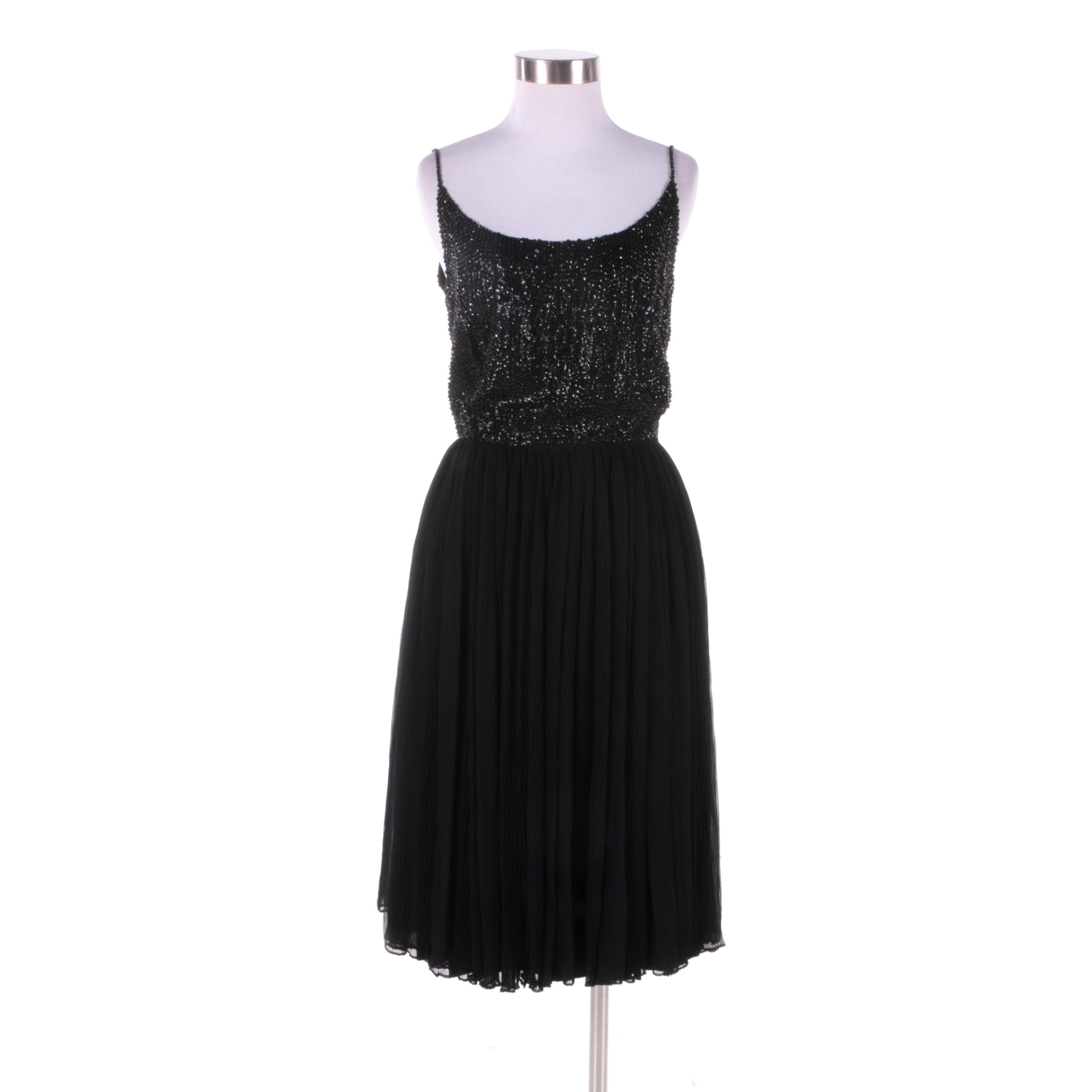 1960s Vintage Mr Mort Black Chiffon Sleeveless Cocktail Dress with Sequins