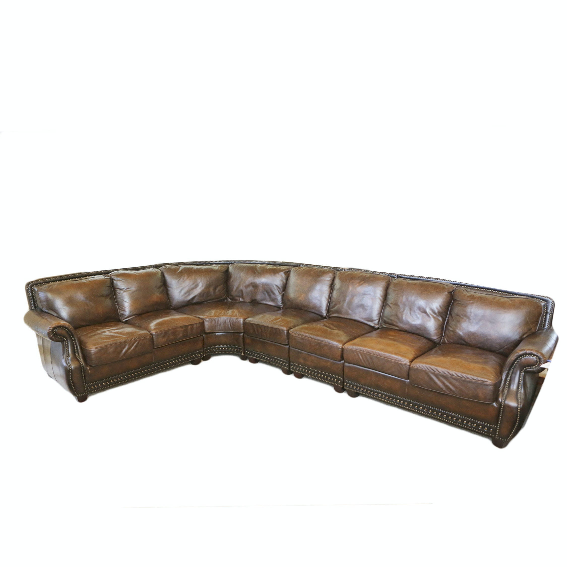Brown Bonded Leather Sectional Sofa