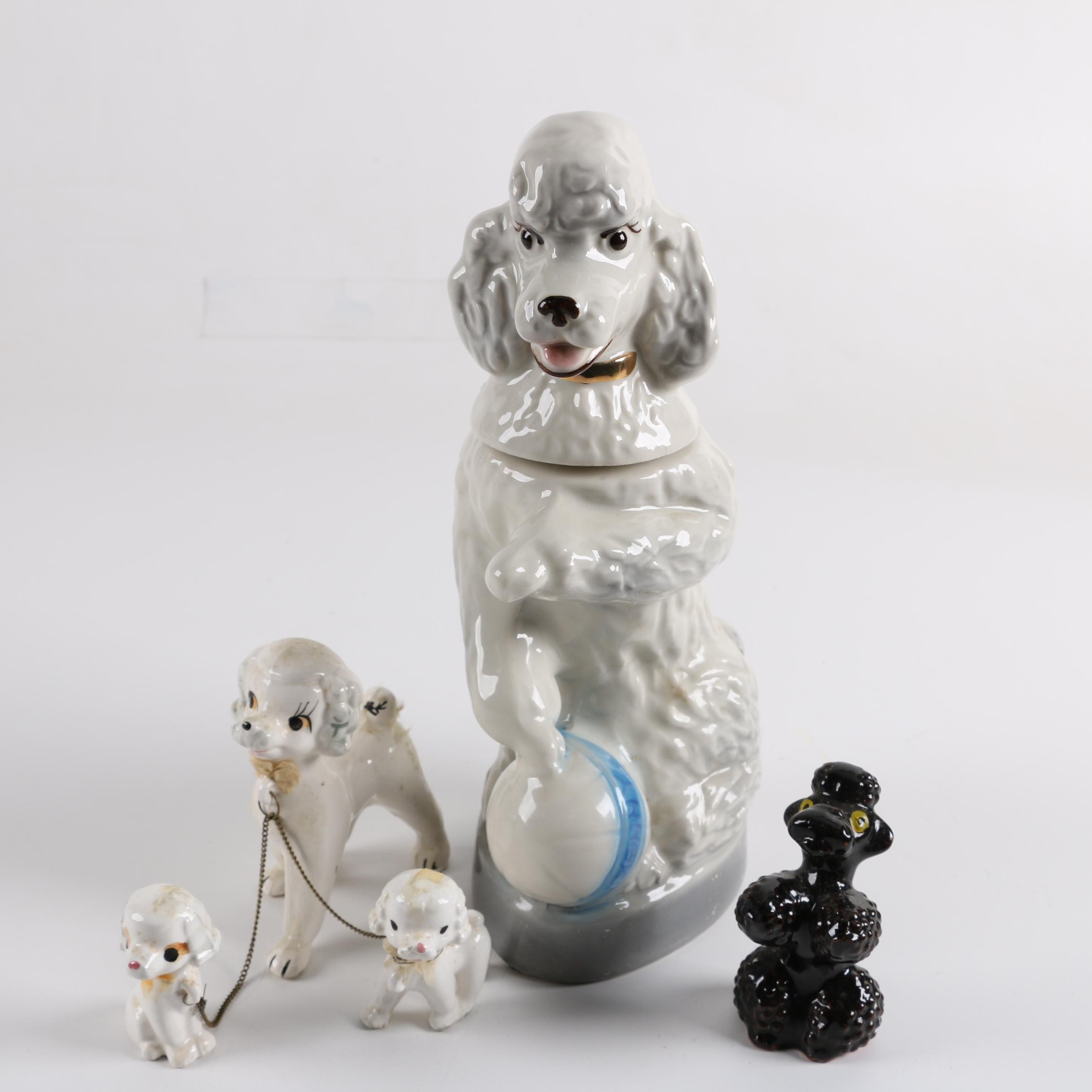 Vintage Ceramic Poodle Figurines including a Jim Beam Decanter