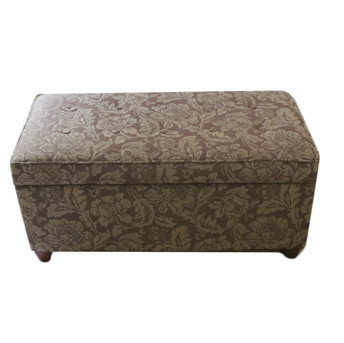 Contemporary Upholstered and Button-Tufted Storage Ottoman