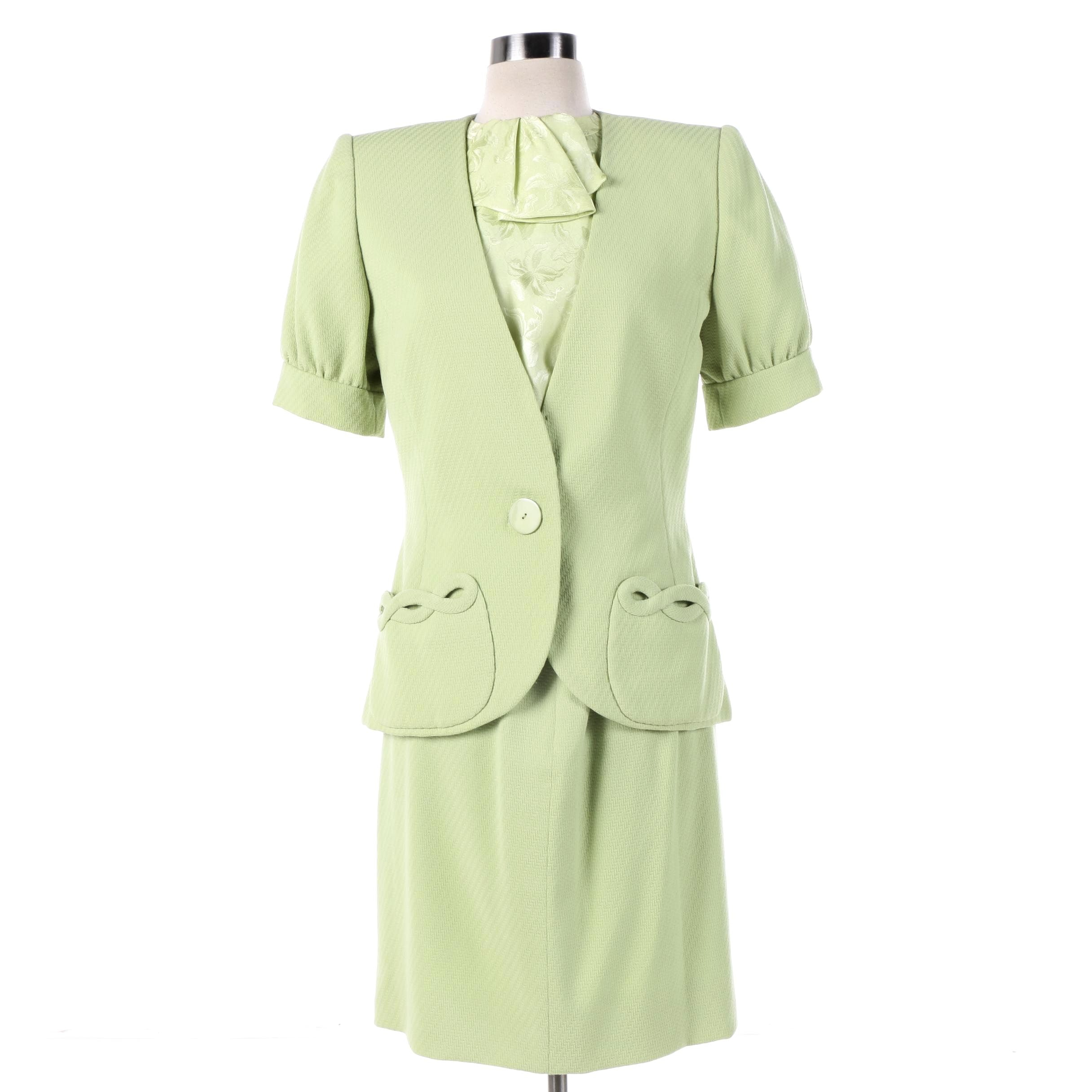 1980s Vintage Mirella Cavorso Apple Green Italian Wool and Silk Skirt Suit